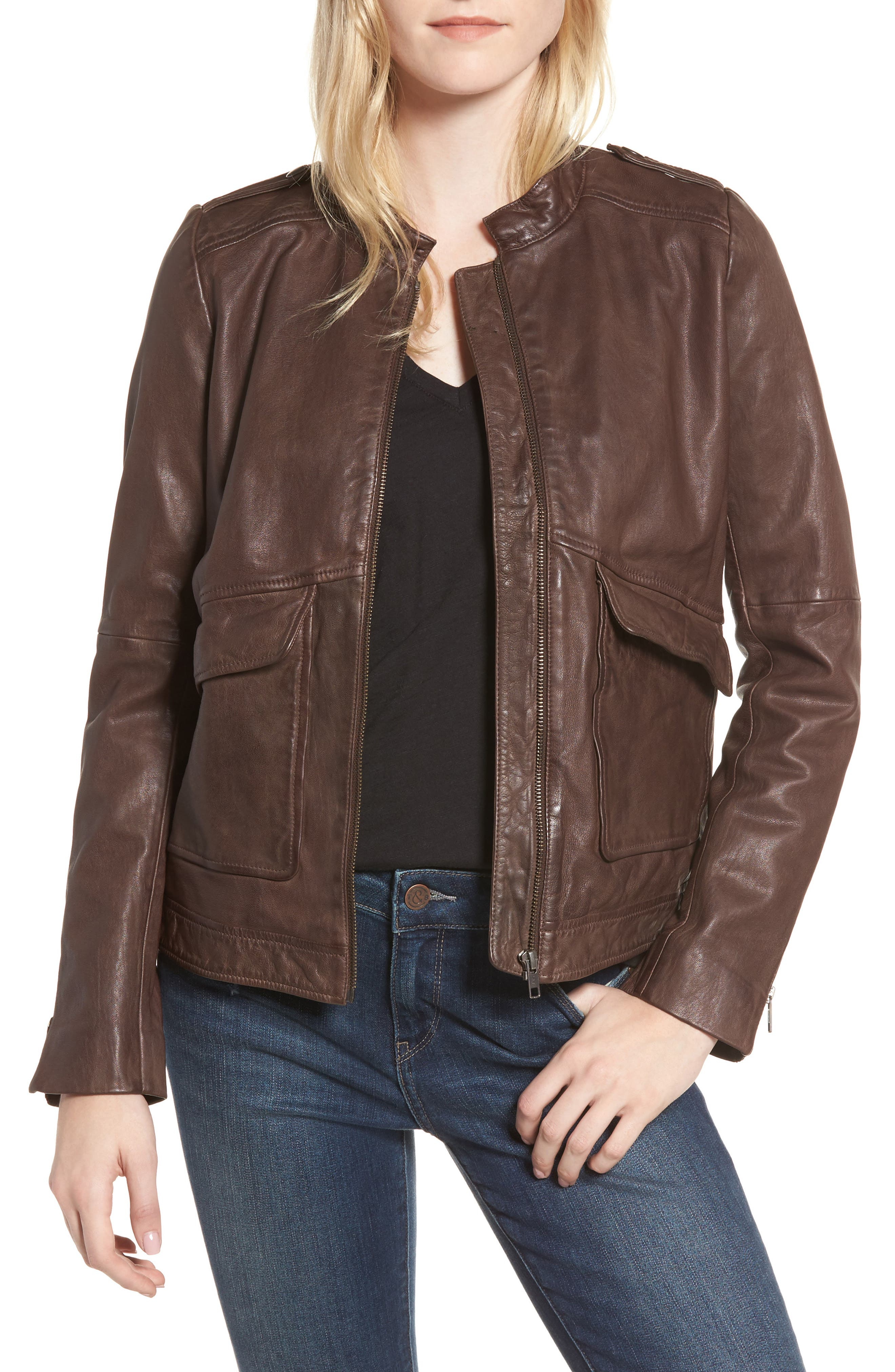 Pocket Detail Leather Jacket,                         Main,                         color, Brown Coffee