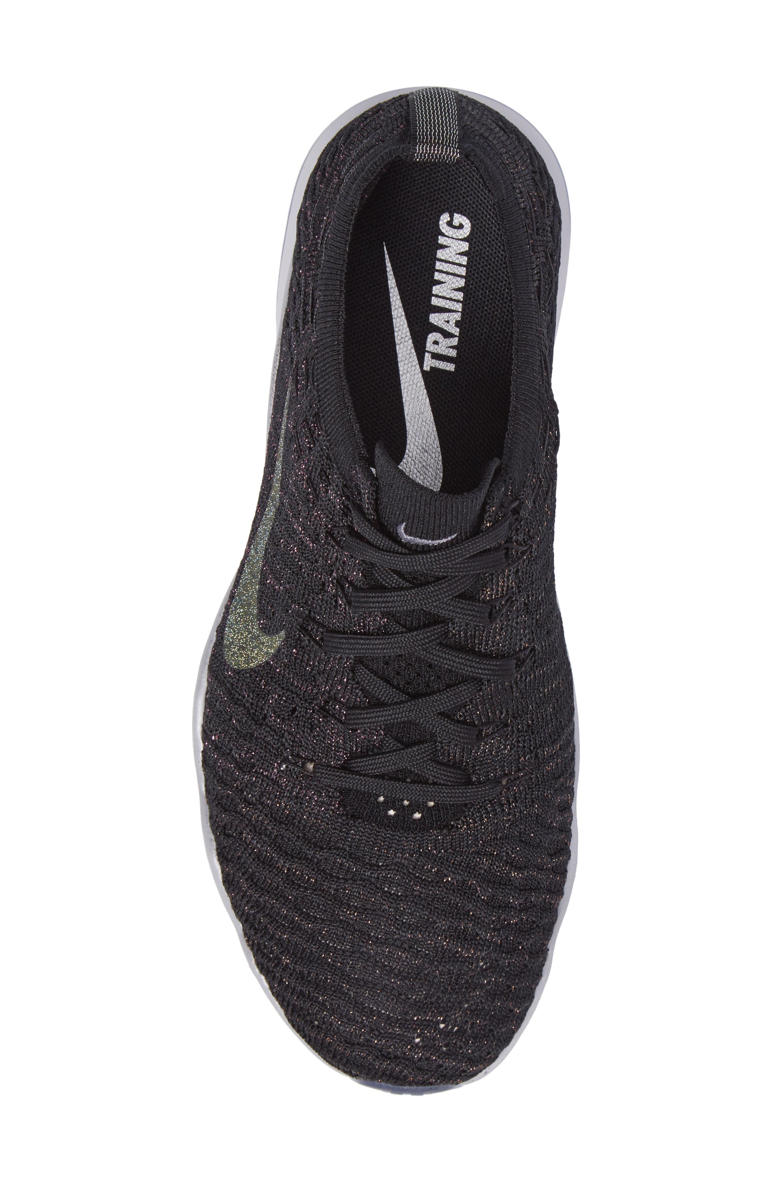 Air Zoom Fearless Flyknit Metallic Training Shoe,                             Alternate thumbnail 5, color,                             Black/ Dark Grey/ Silver