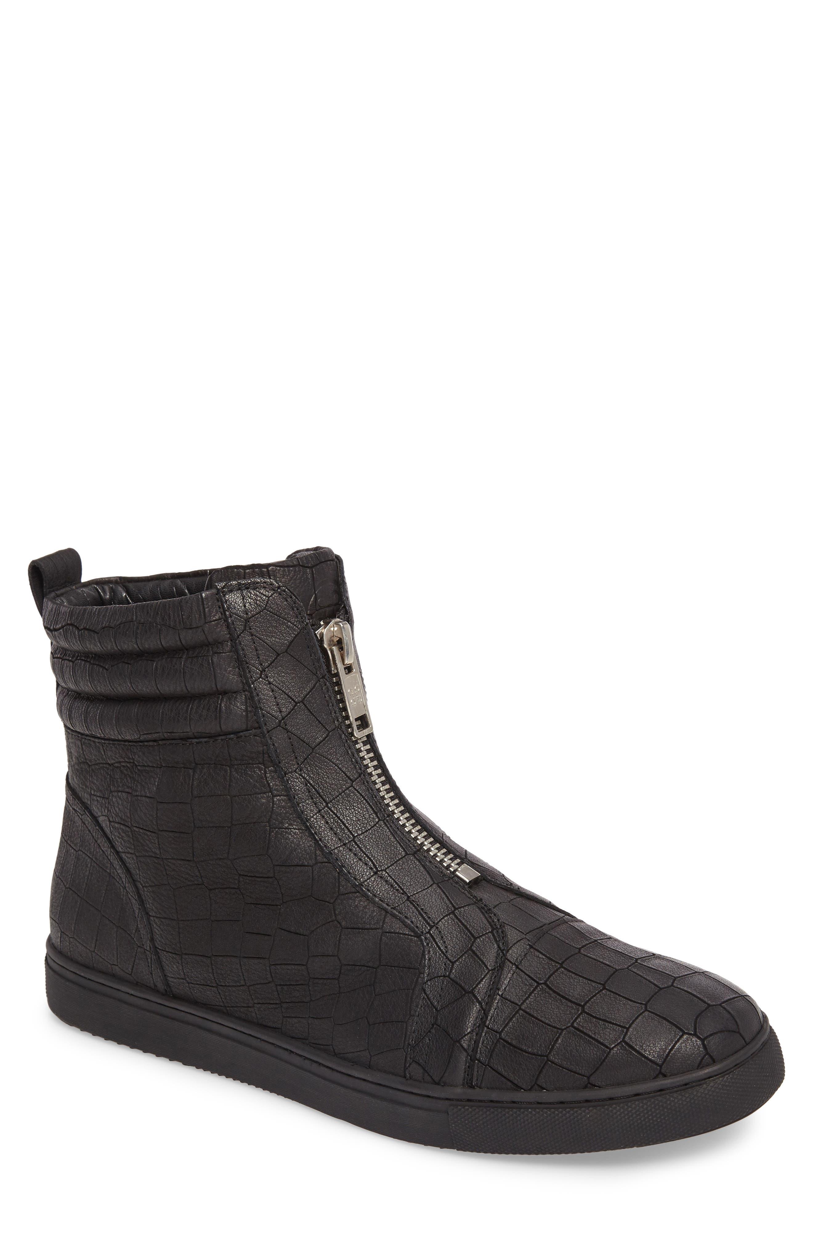 Hip & Bone Zip Boot,                             Main thumbnail 1, color,                             Black Croc Leather
