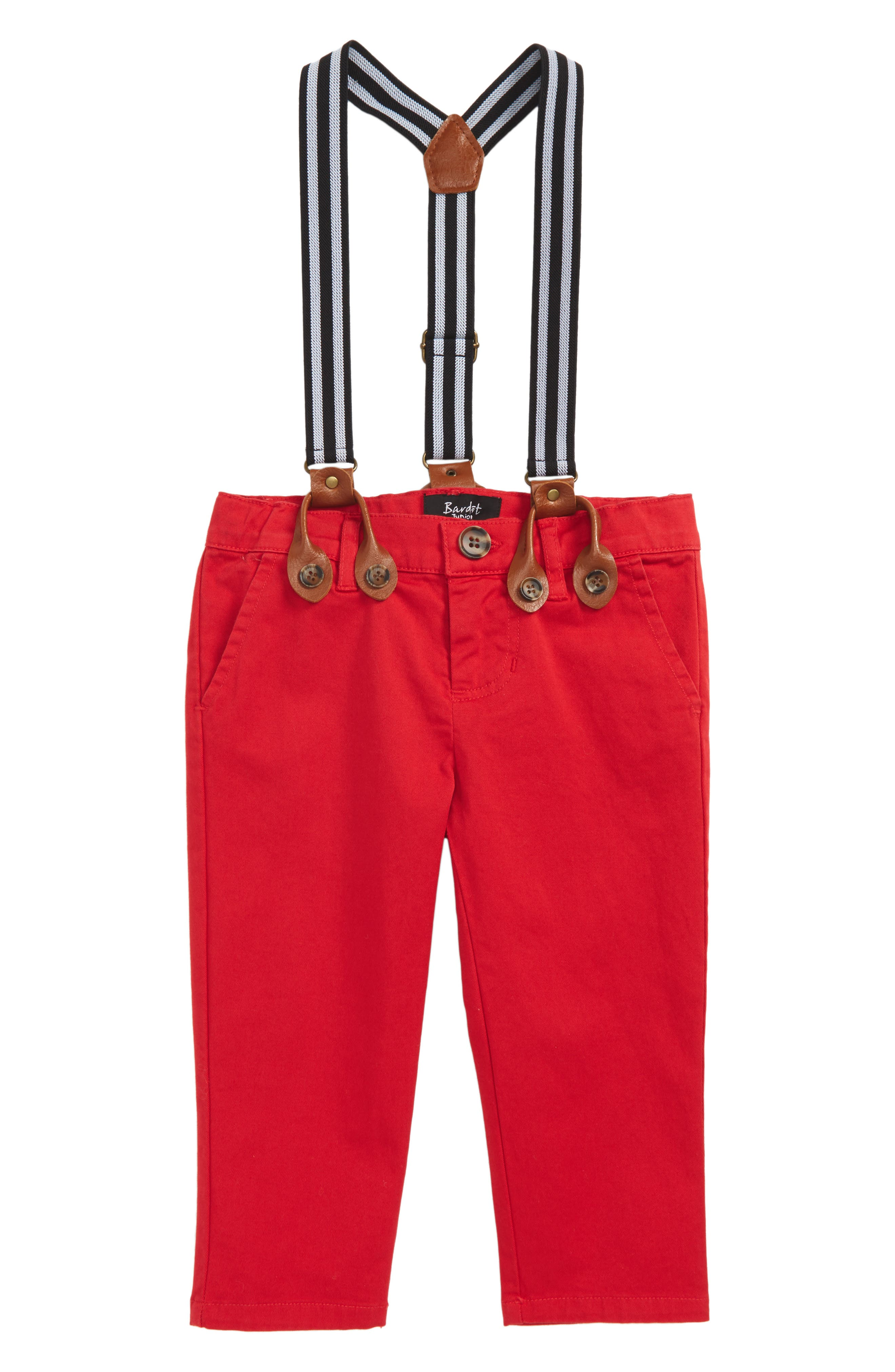 Chinos & Suspenders Set,                         Main,                         color, Red