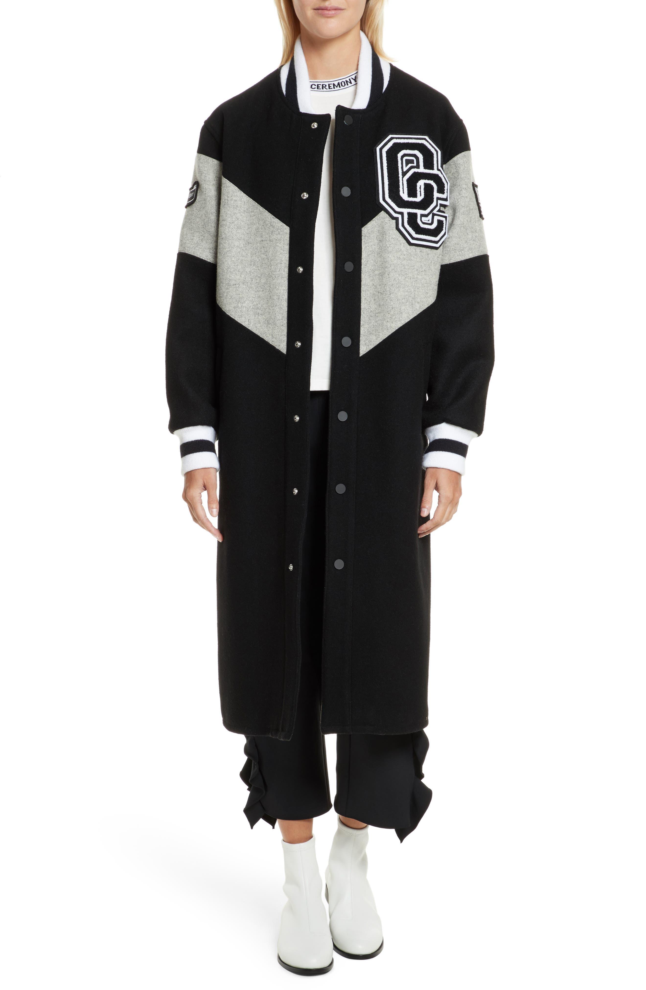 Alpha Long Varsity Jacket,                         Main,                         color, Black