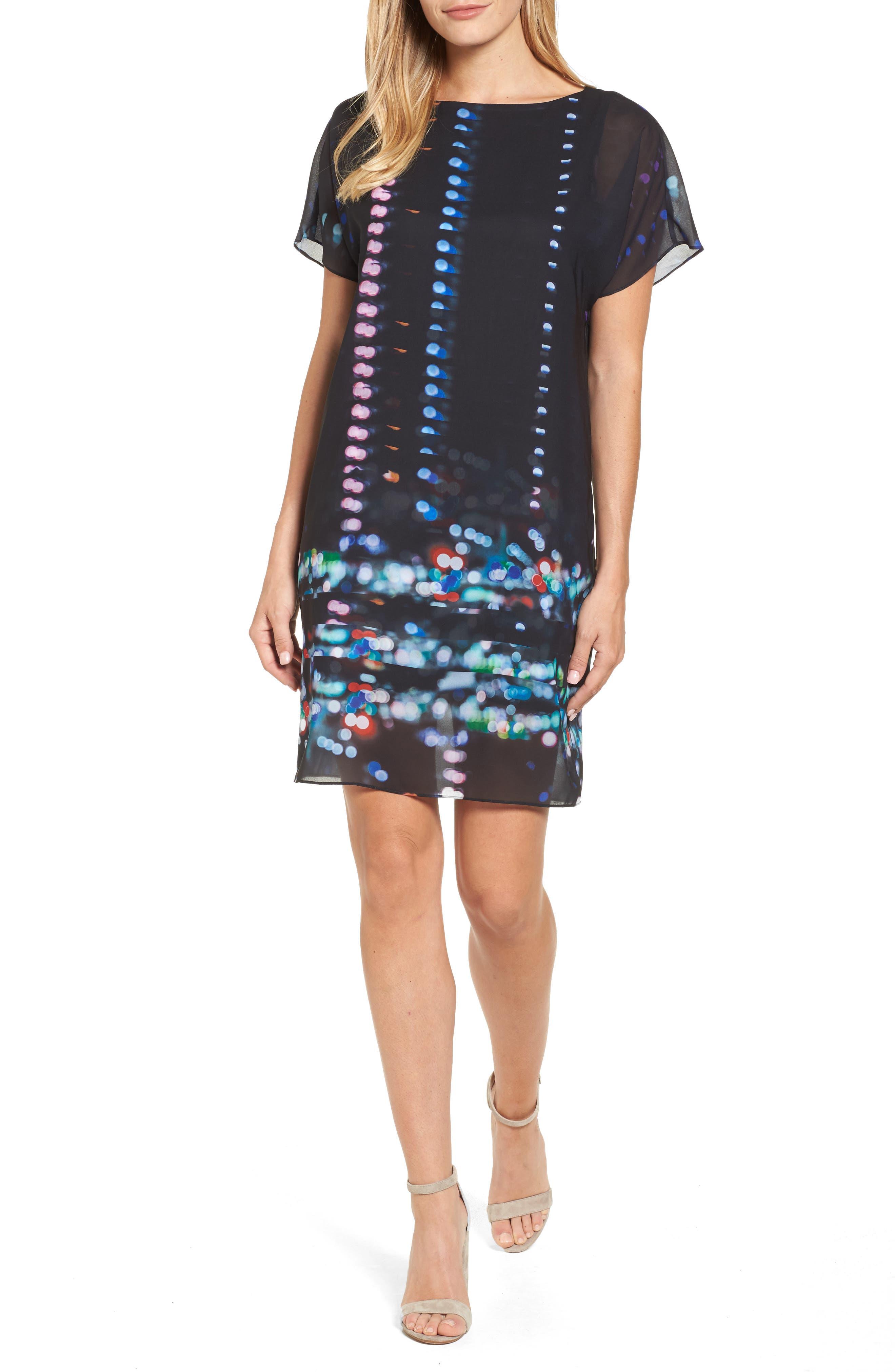 Print Chiffon Shift Dress,                         Main,                         color, Downtown