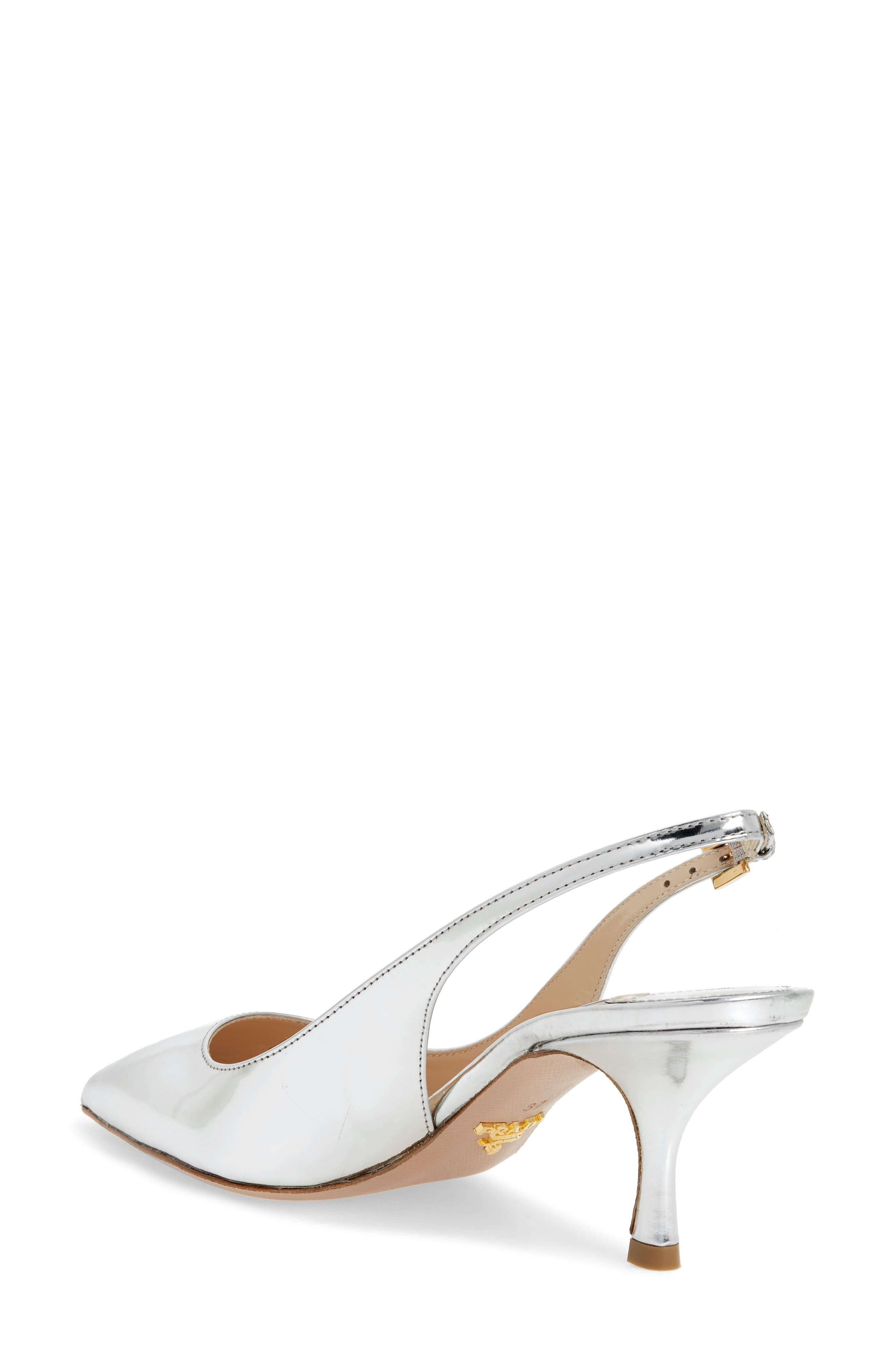 Pointy Toe Slingback Sandal,                             Alternate thumbnail 2, color,                             Silver