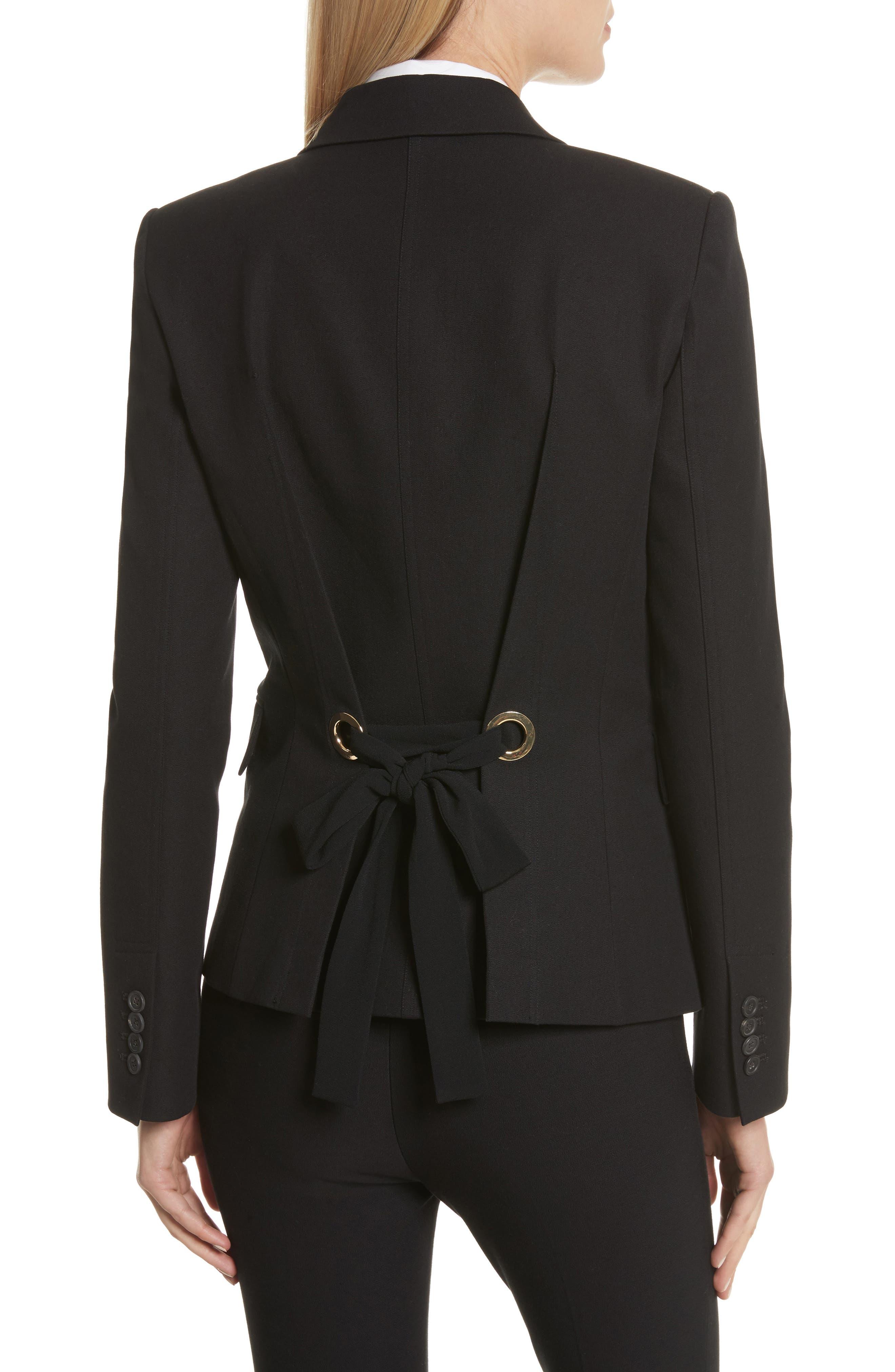 Grommet Tie Back Blazer,                             Alternate thumbnail 2, color,                             Black