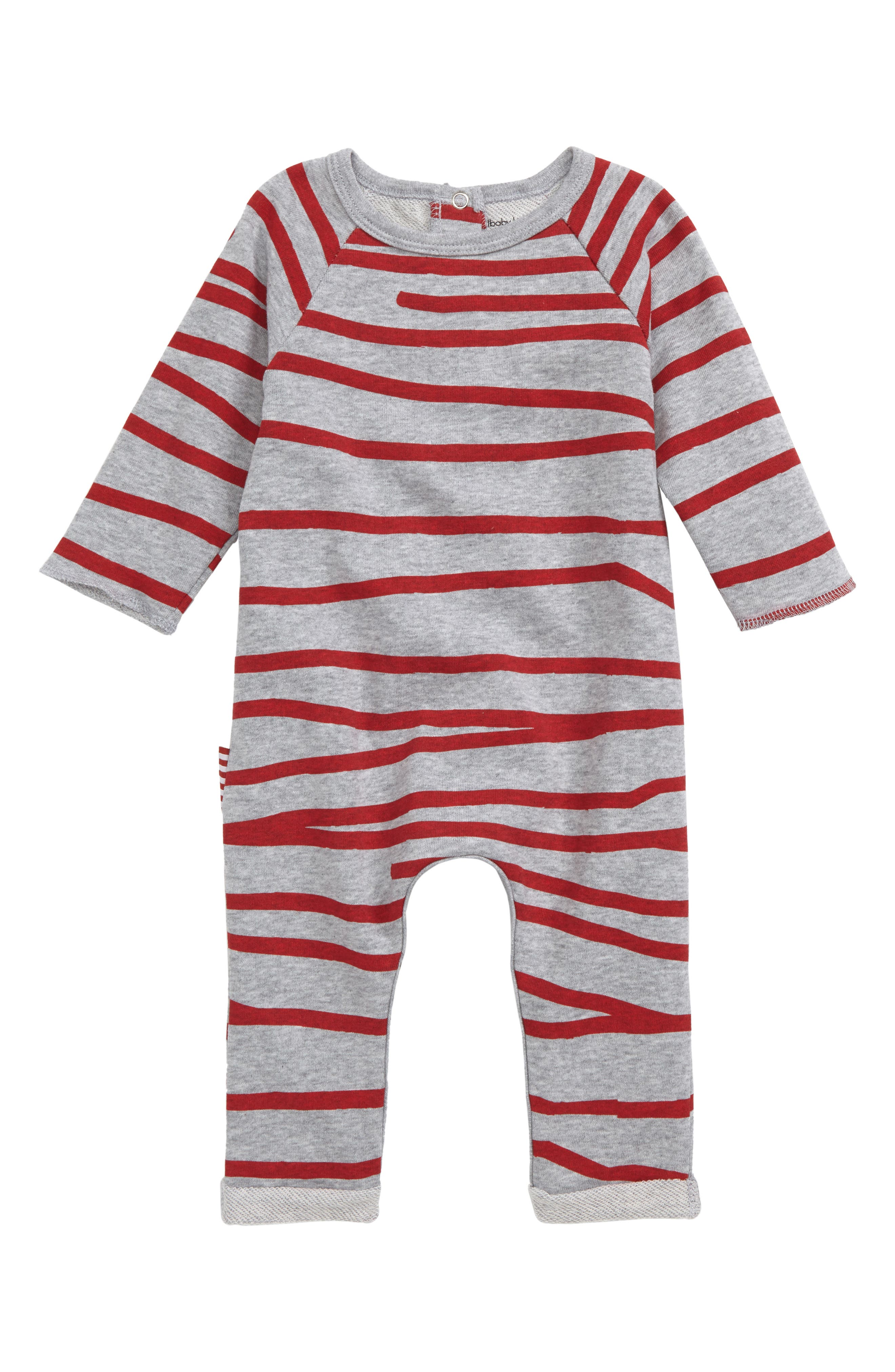Stripe Romper,                             Main thumbnail 1, color,                             Grey Marle/ Red