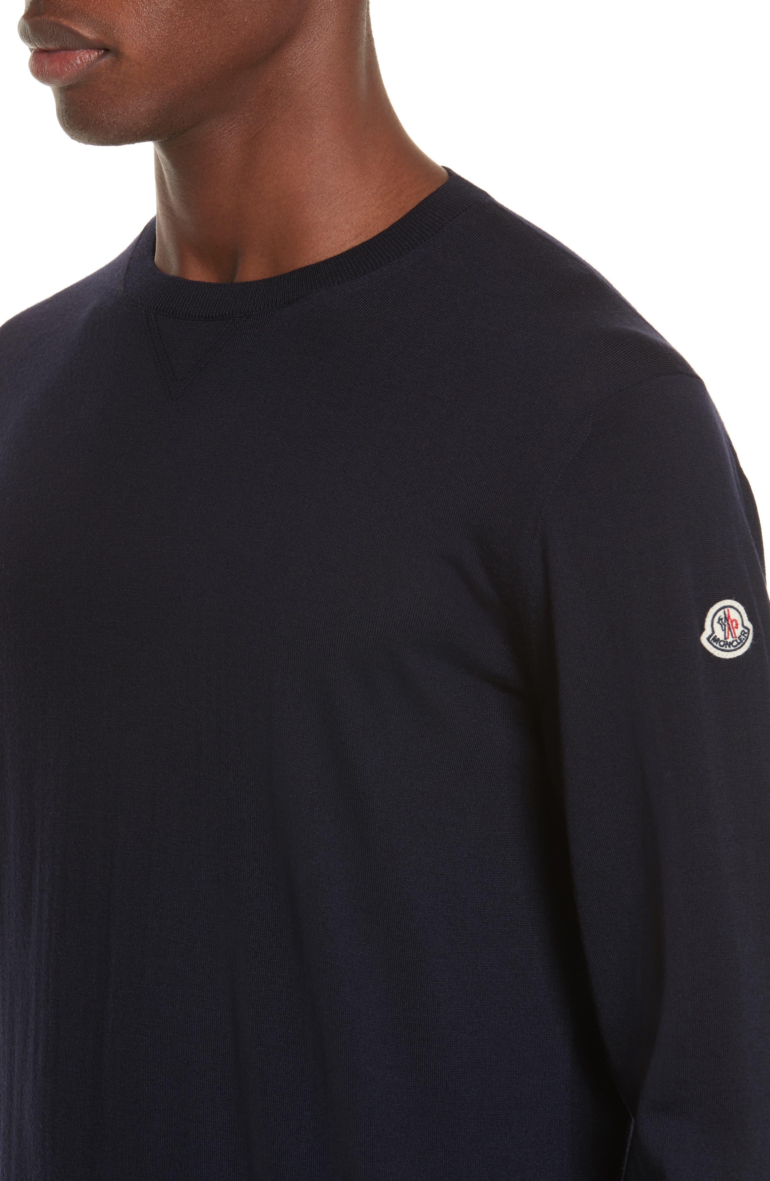 Virgin Wool Crewneck Sweater,                             Alternate thumbnail 4, color,                             Navy