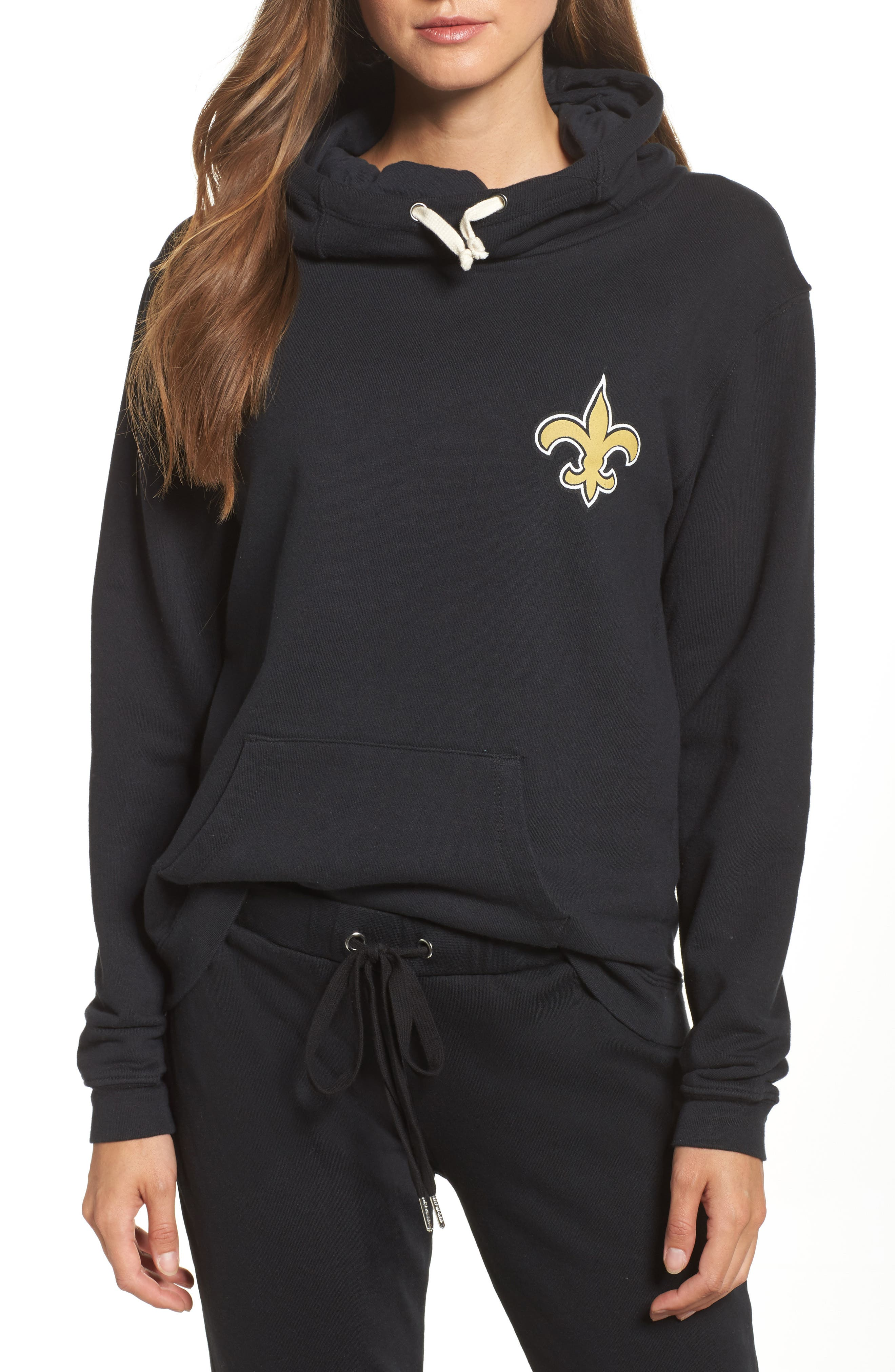 NFL New Orleans Saints Sunday Hoodie,                             Main thumbnail 1, color,                             True Black