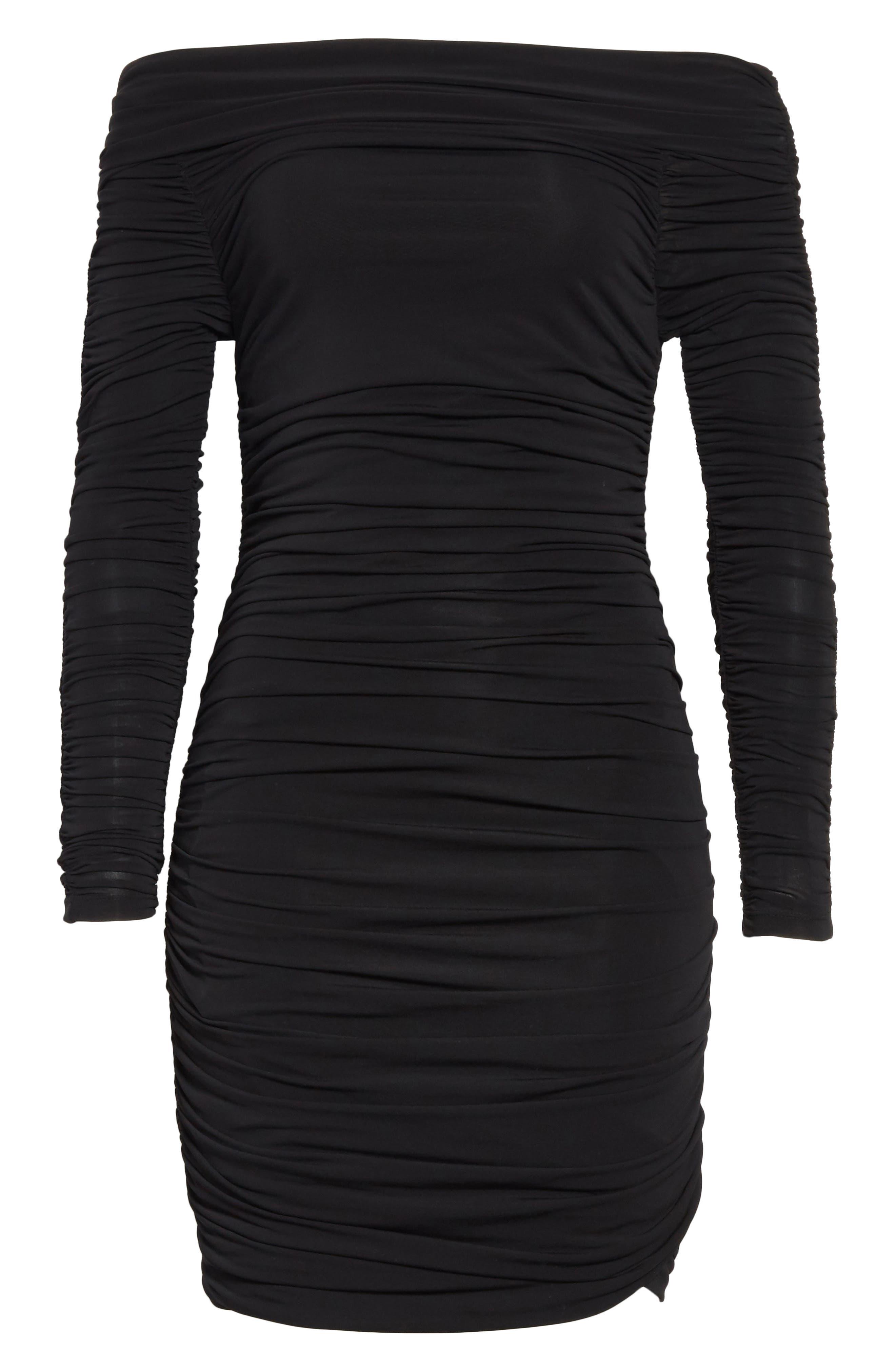 Blaise Off the Shoulder Ruched Dress,                             Alternate thumbnail 6, color,                             Black