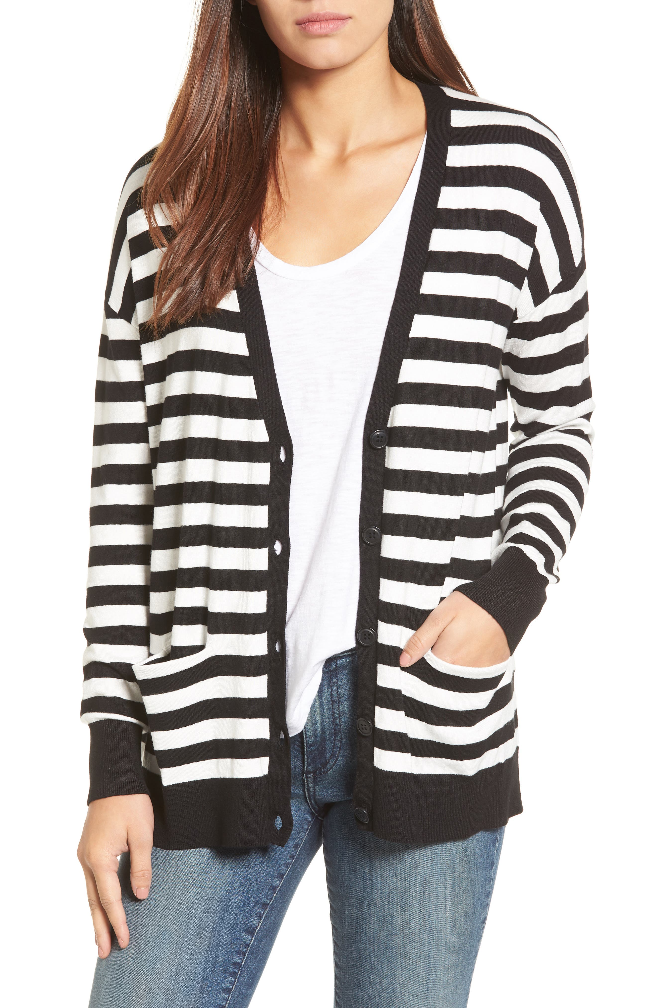 Relaxed Pocket Cardigan,                             Main thumbnail 1, color,                             Black- Ivory Stripe