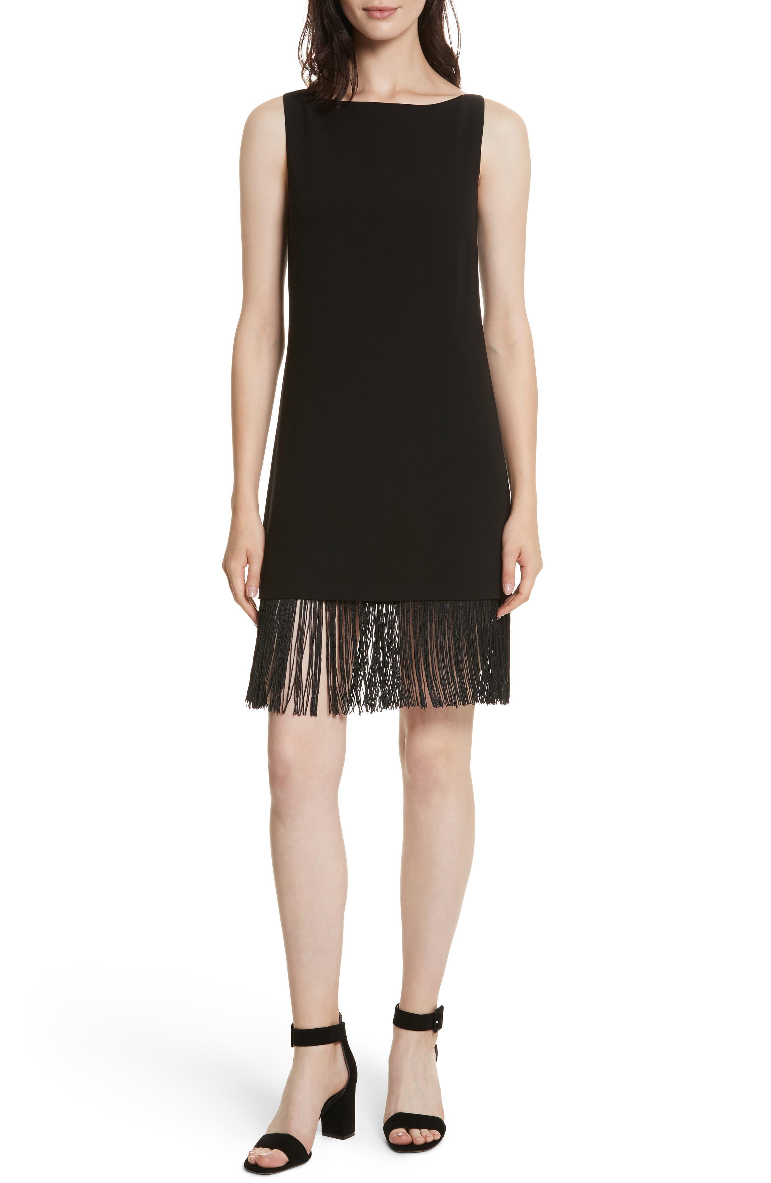 Ekon Fringe Hem Dress,                             Main thumbnail 1, color,                             Black