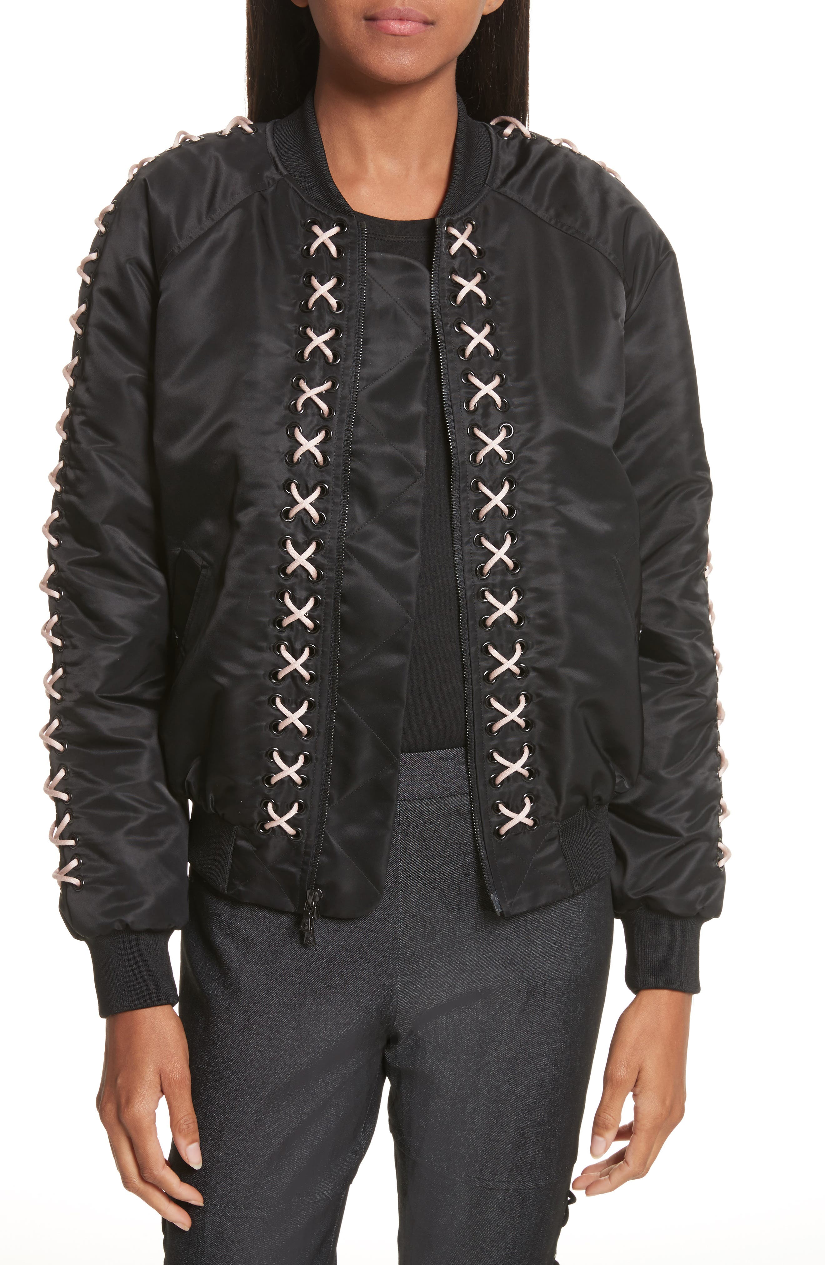 Pria Lace-Up Bomber,                         Main,                         color, Black