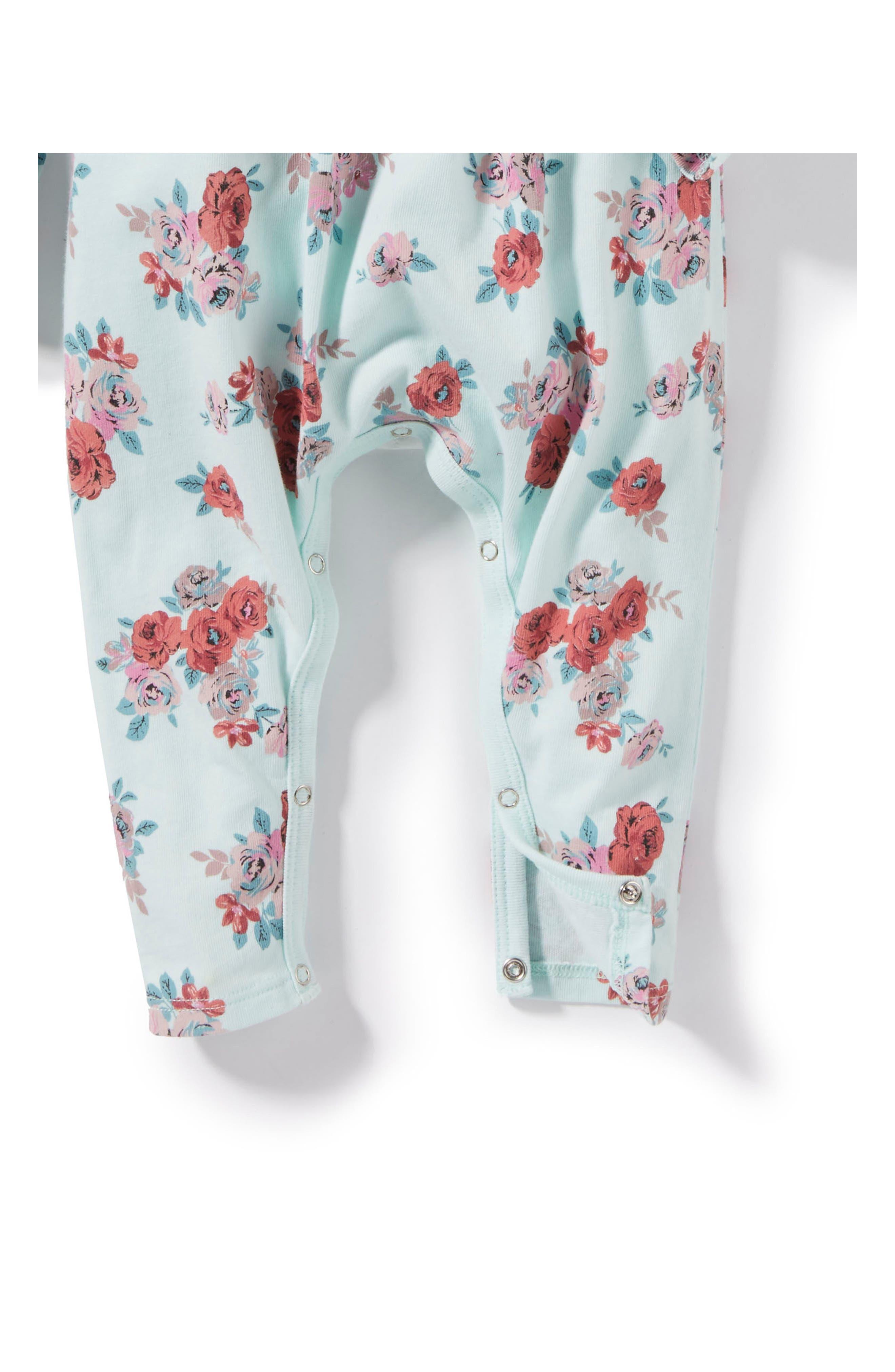 Alternate Image 2  - Peek Floral Romper (Baby Girls)