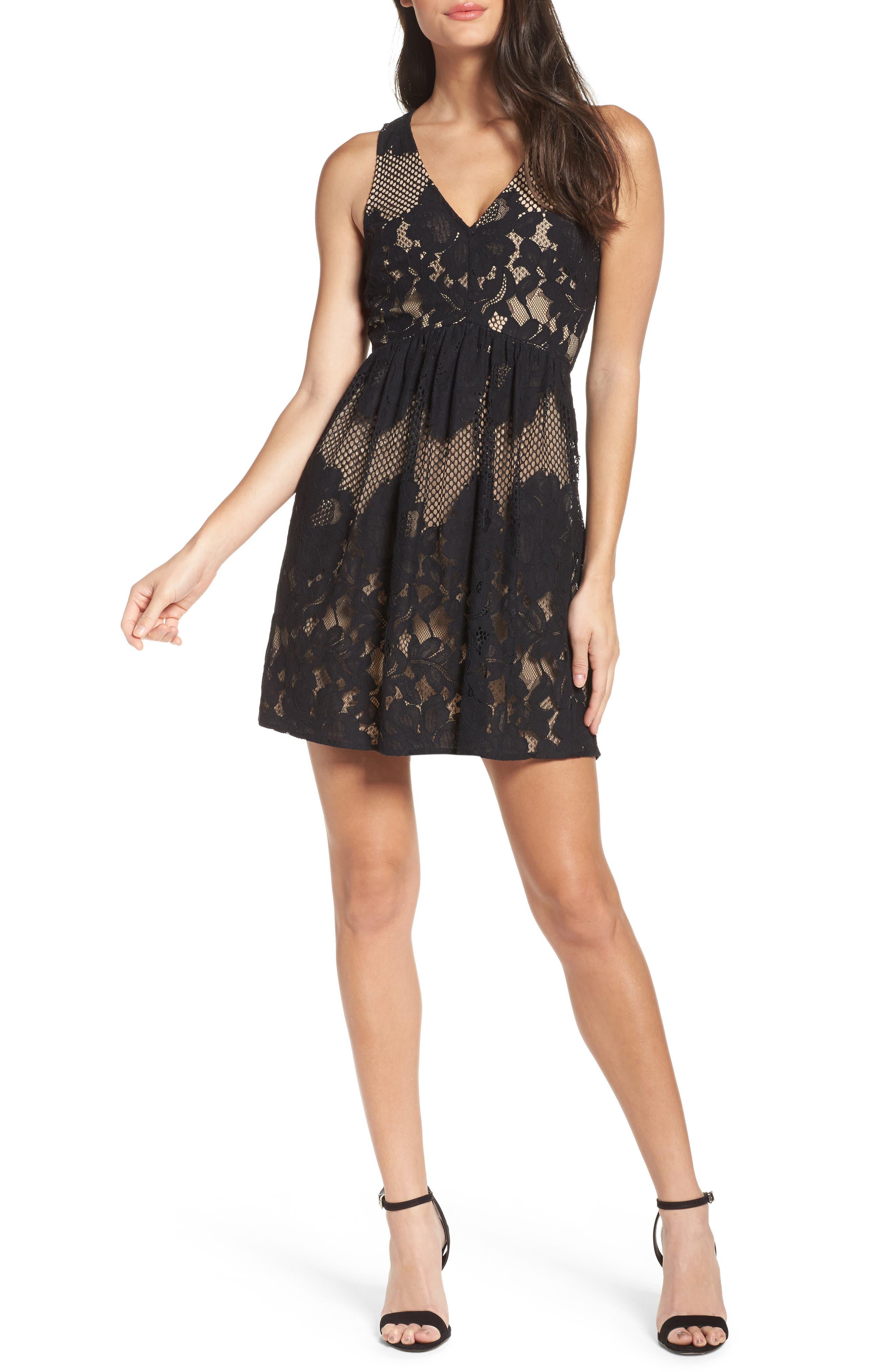 La Grande Roue Lace Skater Dress,                         Main,                         color, Black
