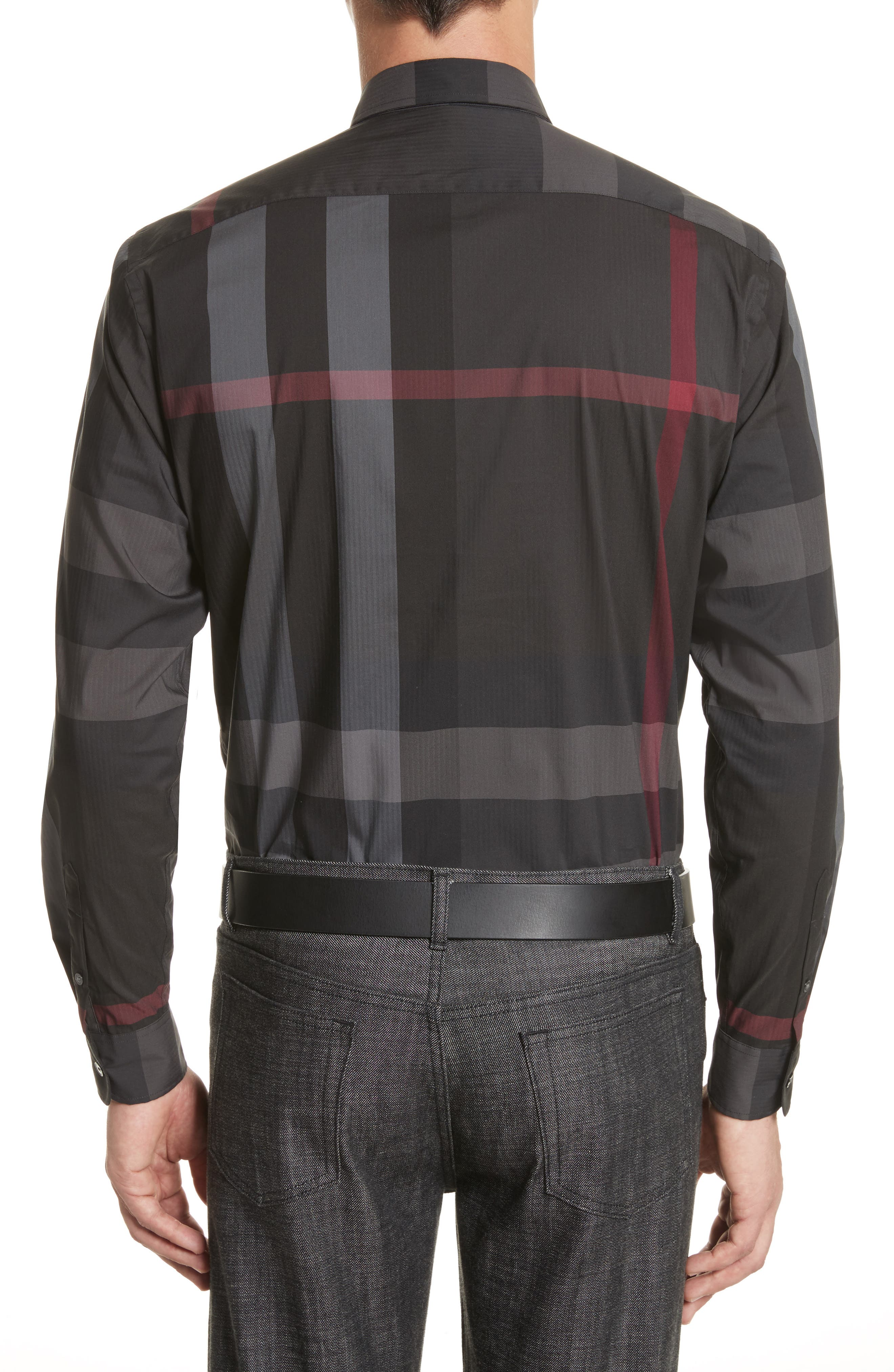 Thornaby Slim Fit Plaid Sportshirt,                             Alternate thumbnail 3, color,                             Charcoal