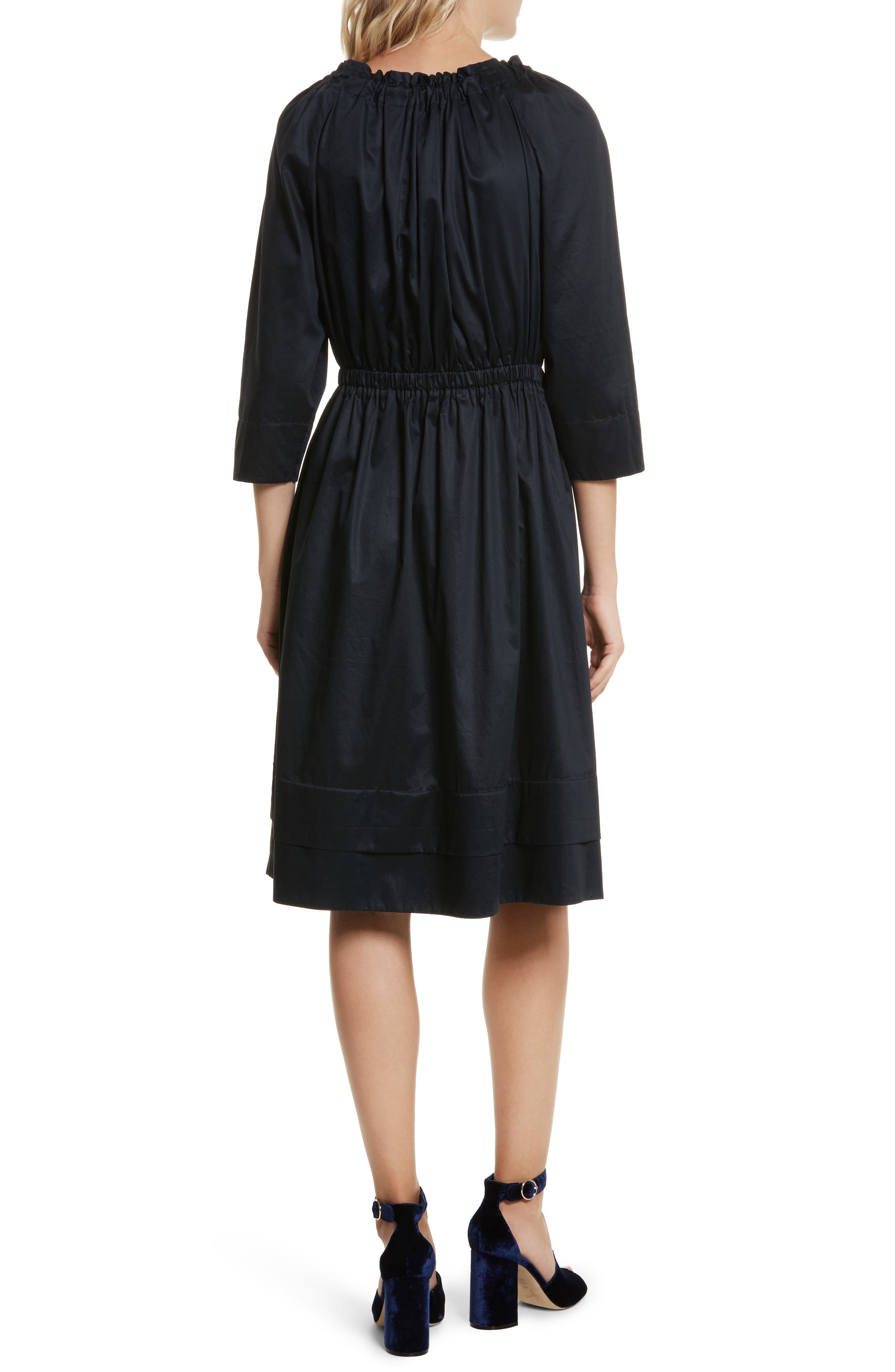 Bow Neck Washed Sateen Dress,                             Alternate thumbnail 2, color,                             Midnight Navy