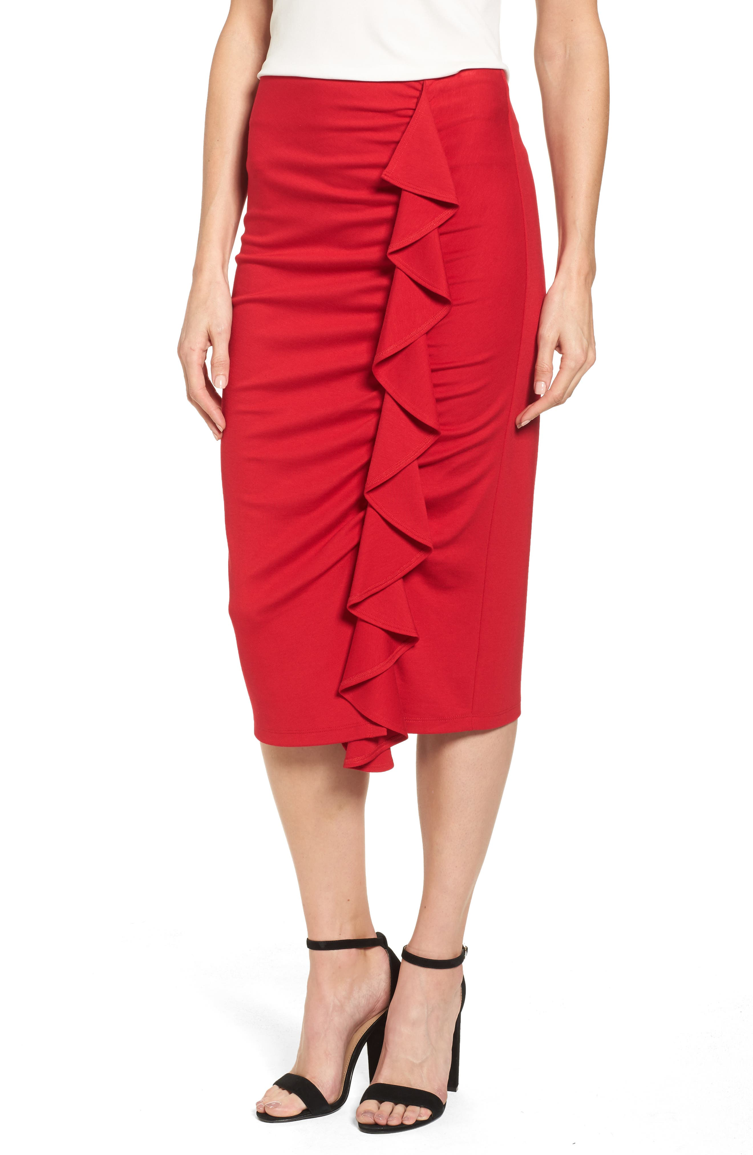 Halogen® Side Ruffle Pencil Skirt