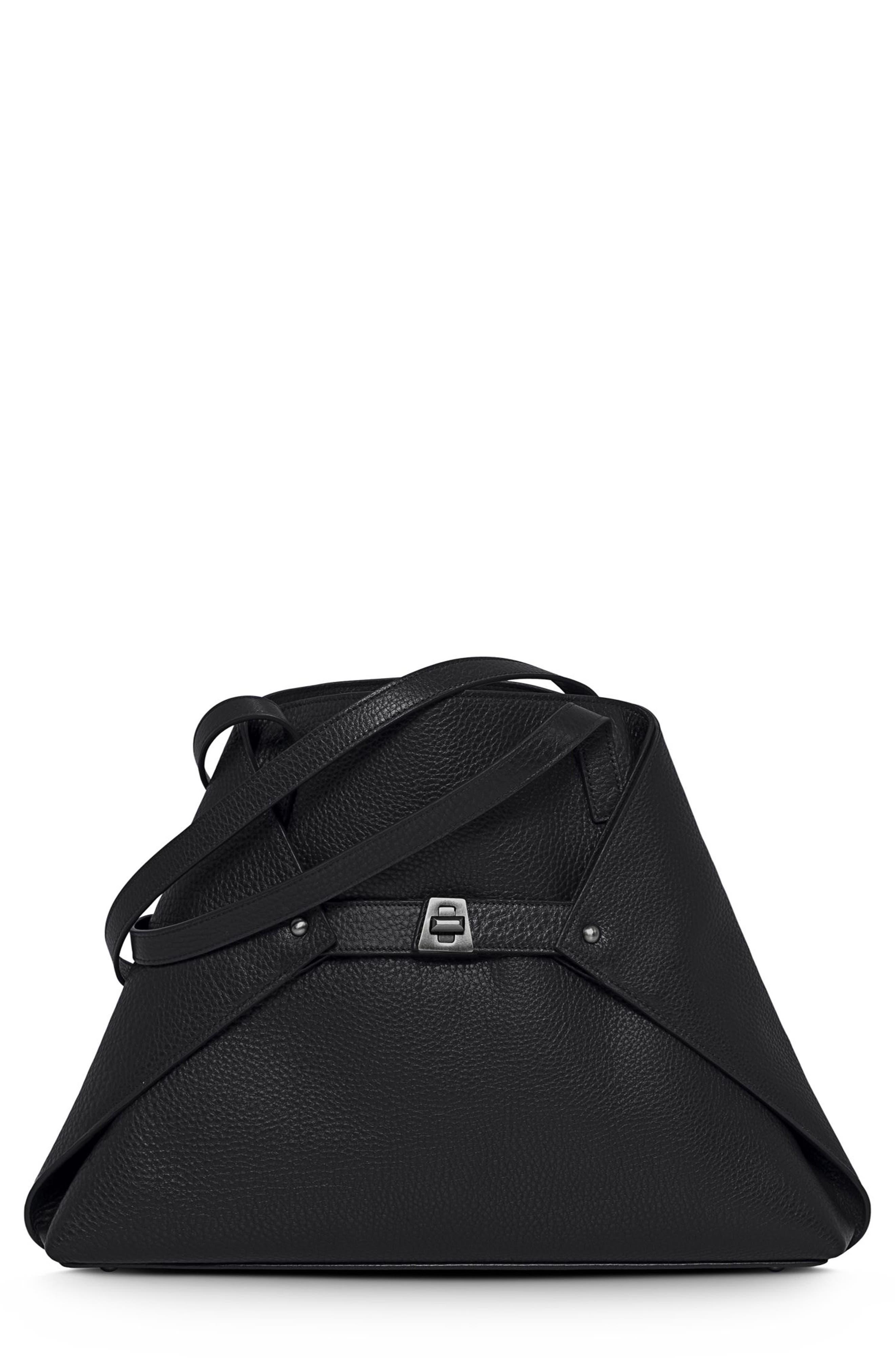 Small AI Leather Tote,                         Main,                         color, Black