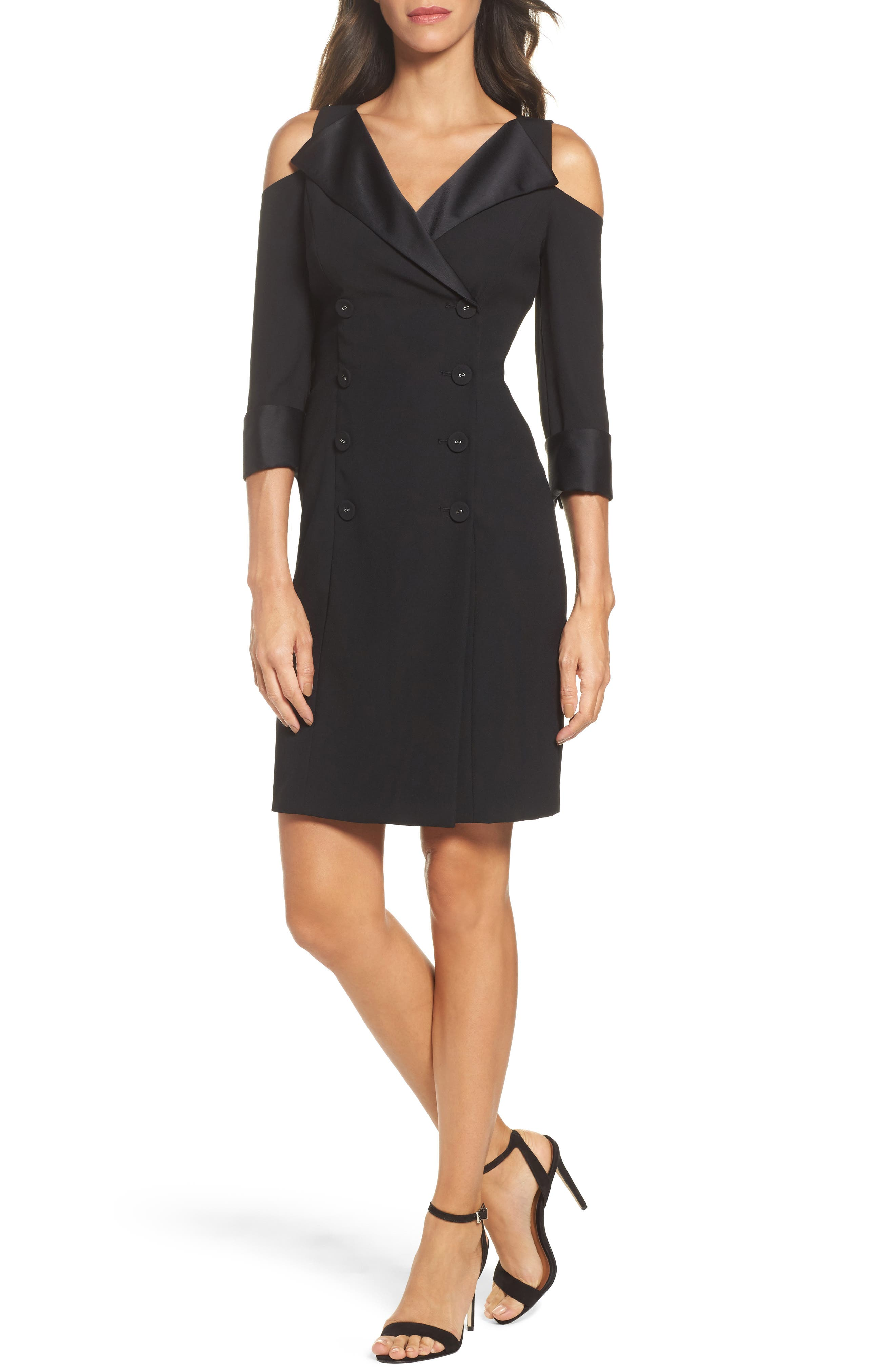 Alternate Image 1 Selected - Adrianna Papell Tuxedo Cold Shoulder Sheath Dress