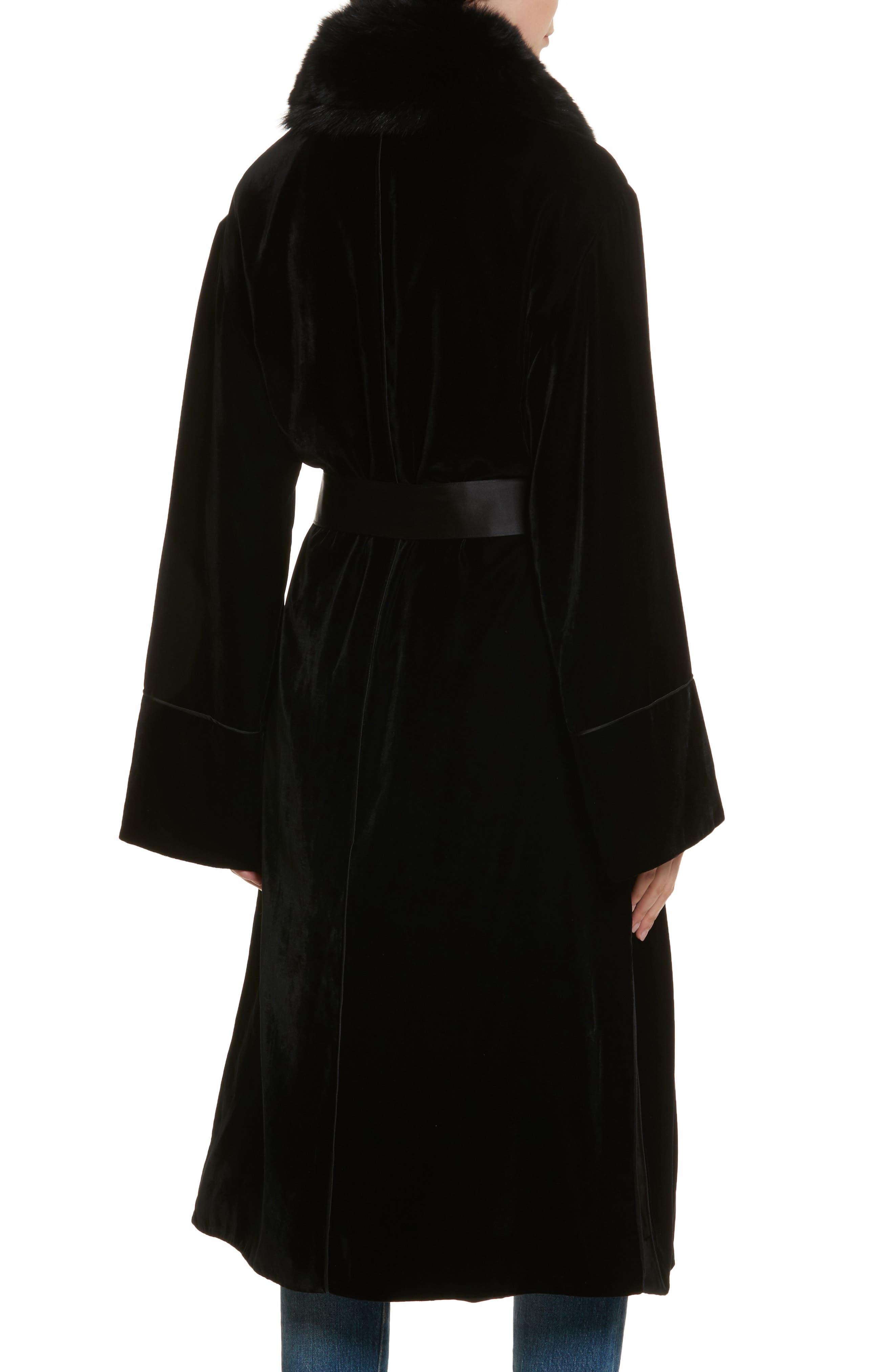 Mitzi Velvet Coat,                             Alternate thumbnail 2, color,                             Black