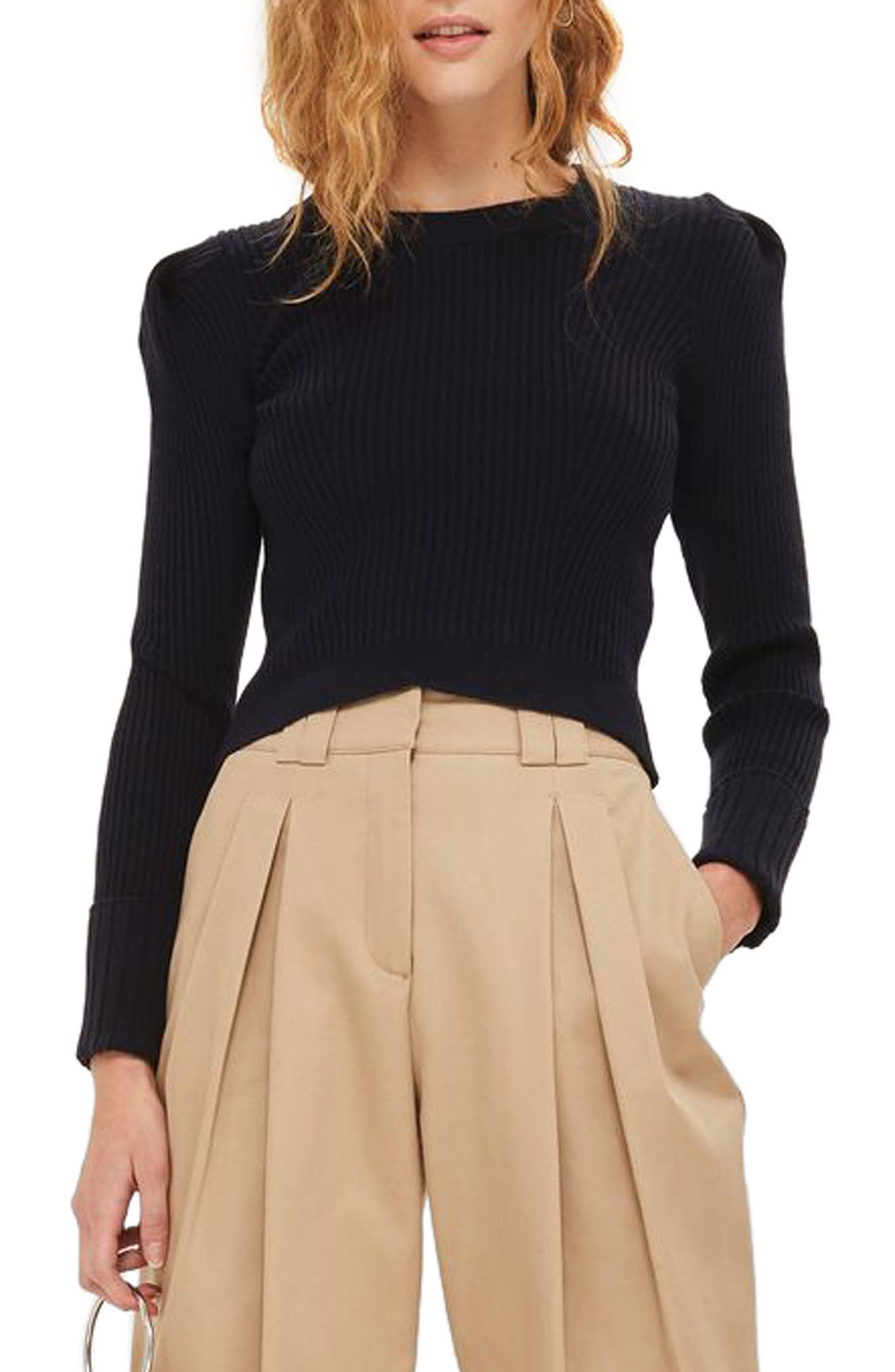 Puff Sleeve Ribbed Sweater,                         Main,                         color, Navy Blue