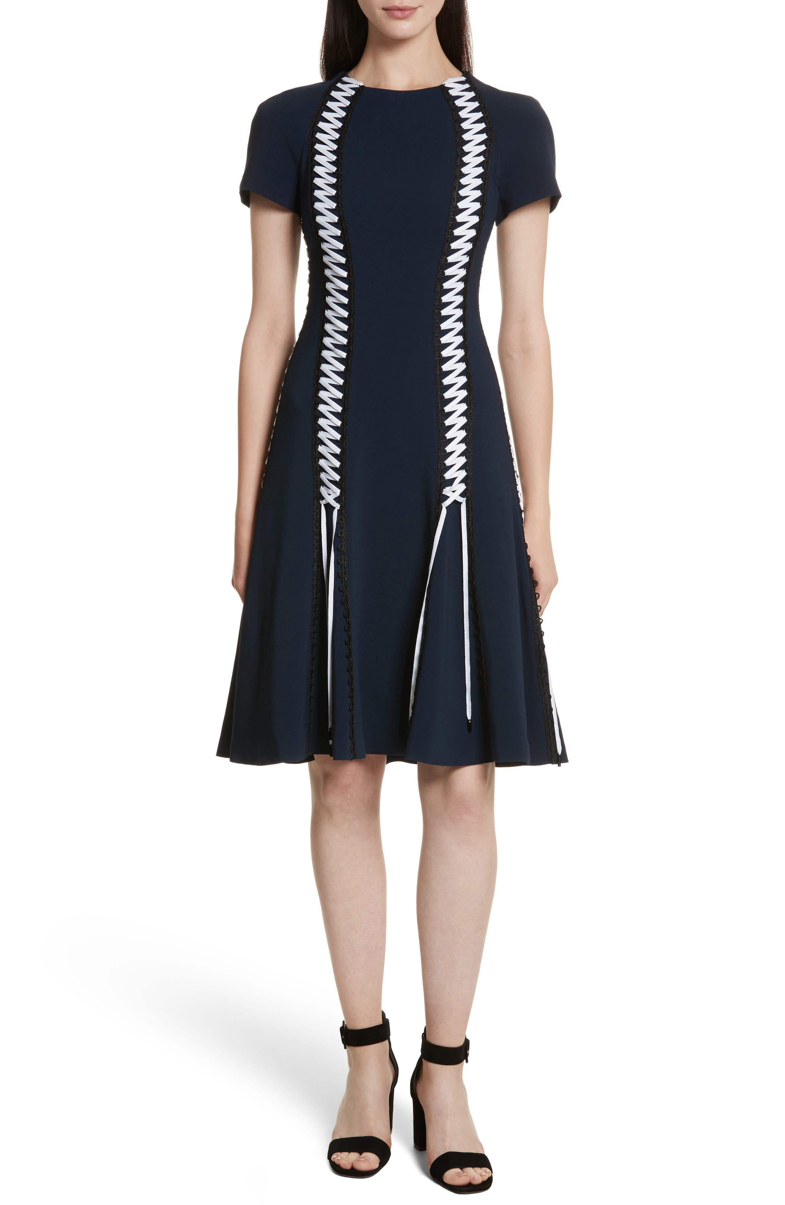 Lace-Up Crepe Dress,                             Main thumbnail 1, color,                             Midnight Combo