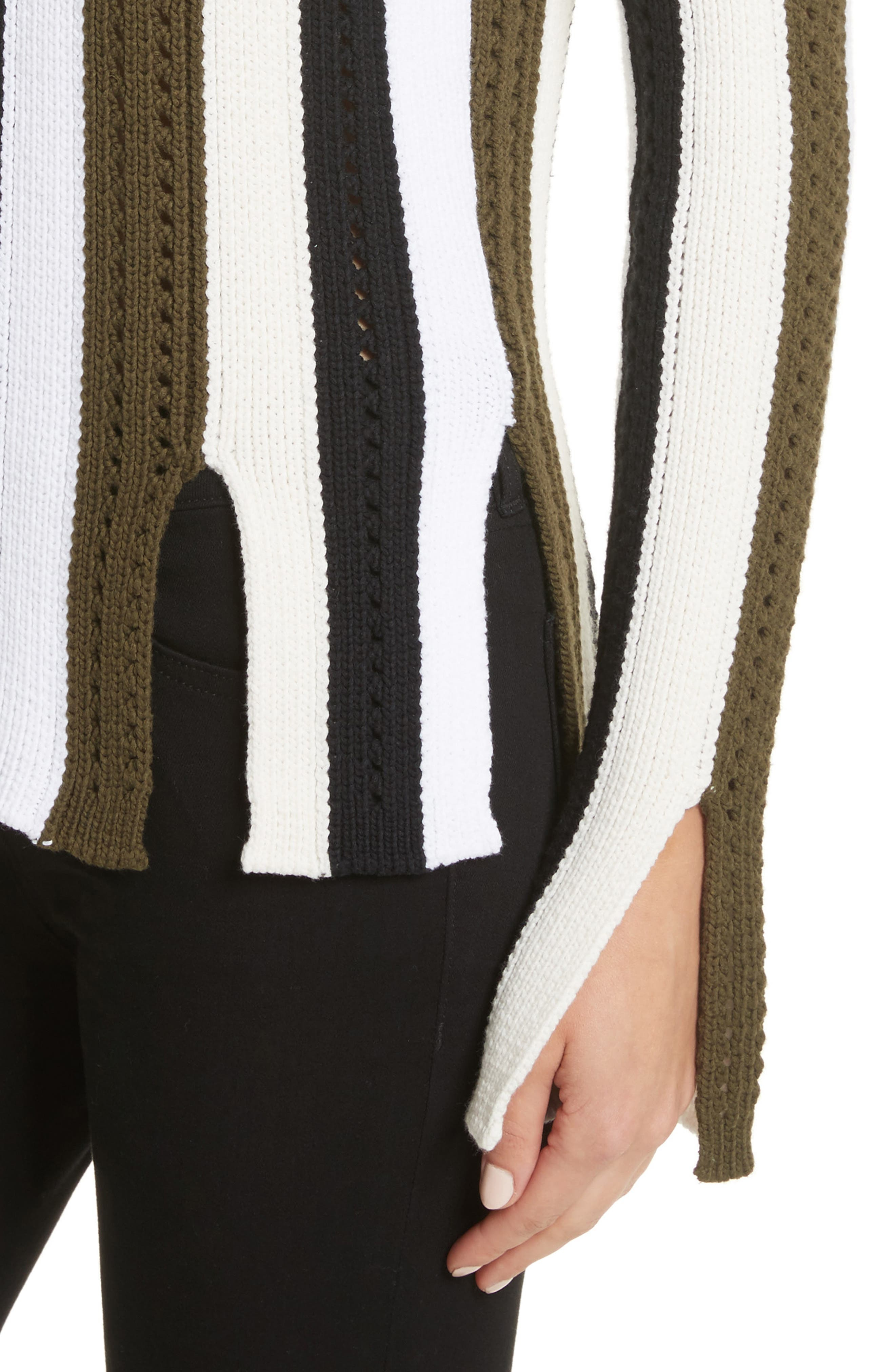 Pointelle Stripe Sweater,                             Alternate thumbnail 4, color,                             Army Multi