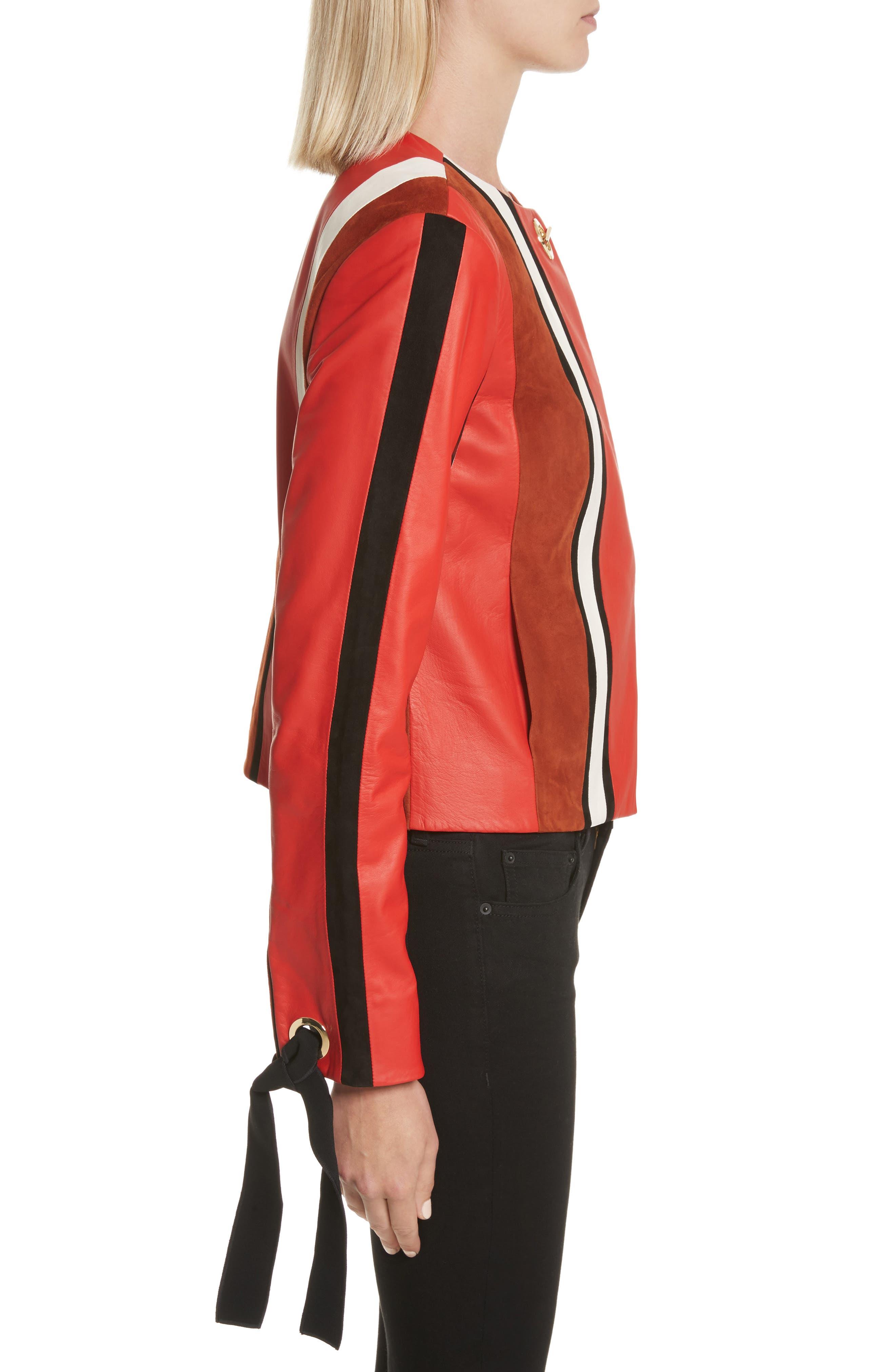 Alternate Image 3  - Derek Lam 10 Crosby Stripe Collarless Leather Jacket