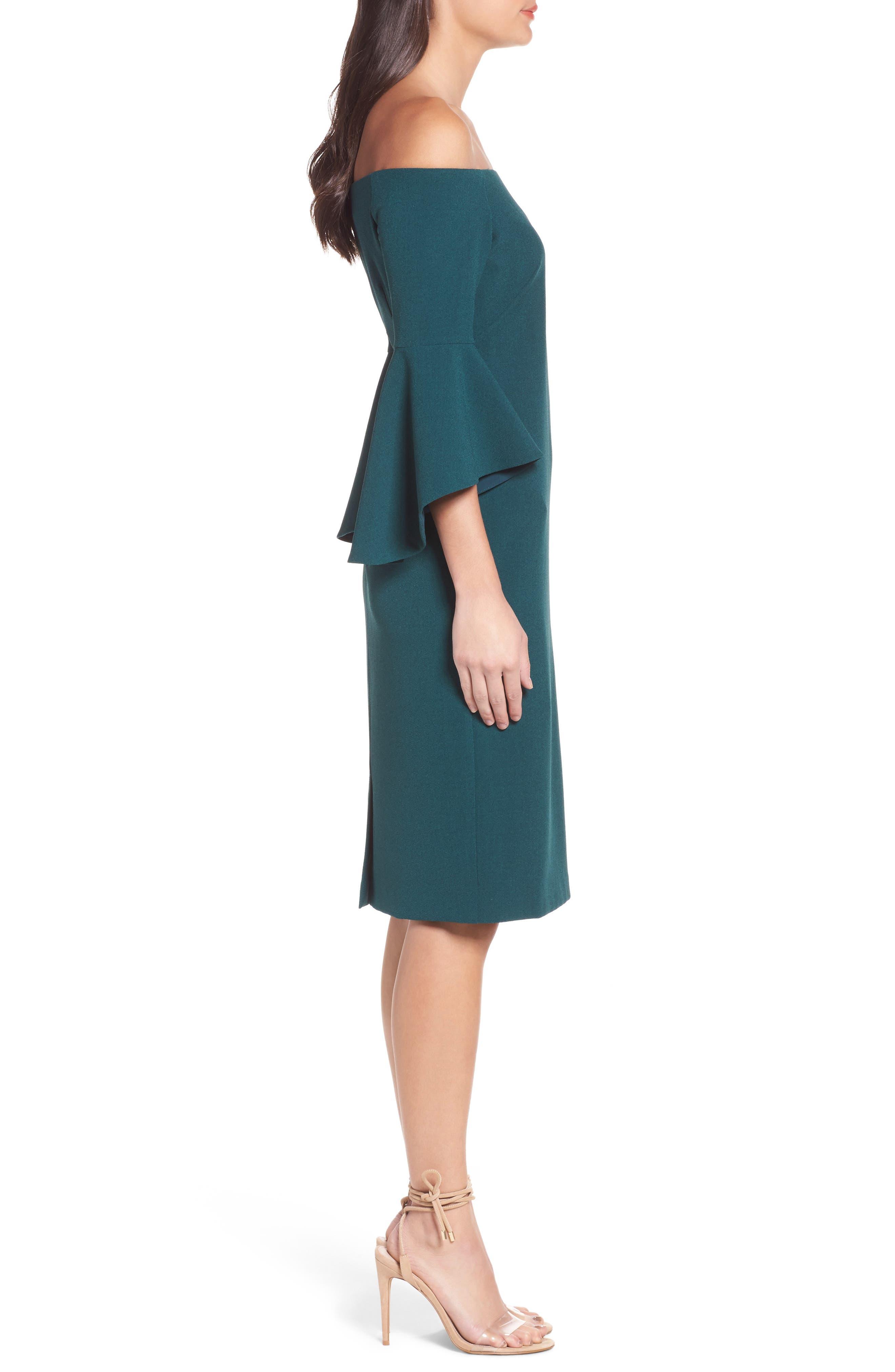 Off the Shoulder Dress,                             Alternate thumbnail 3, color,                             Green Botanical