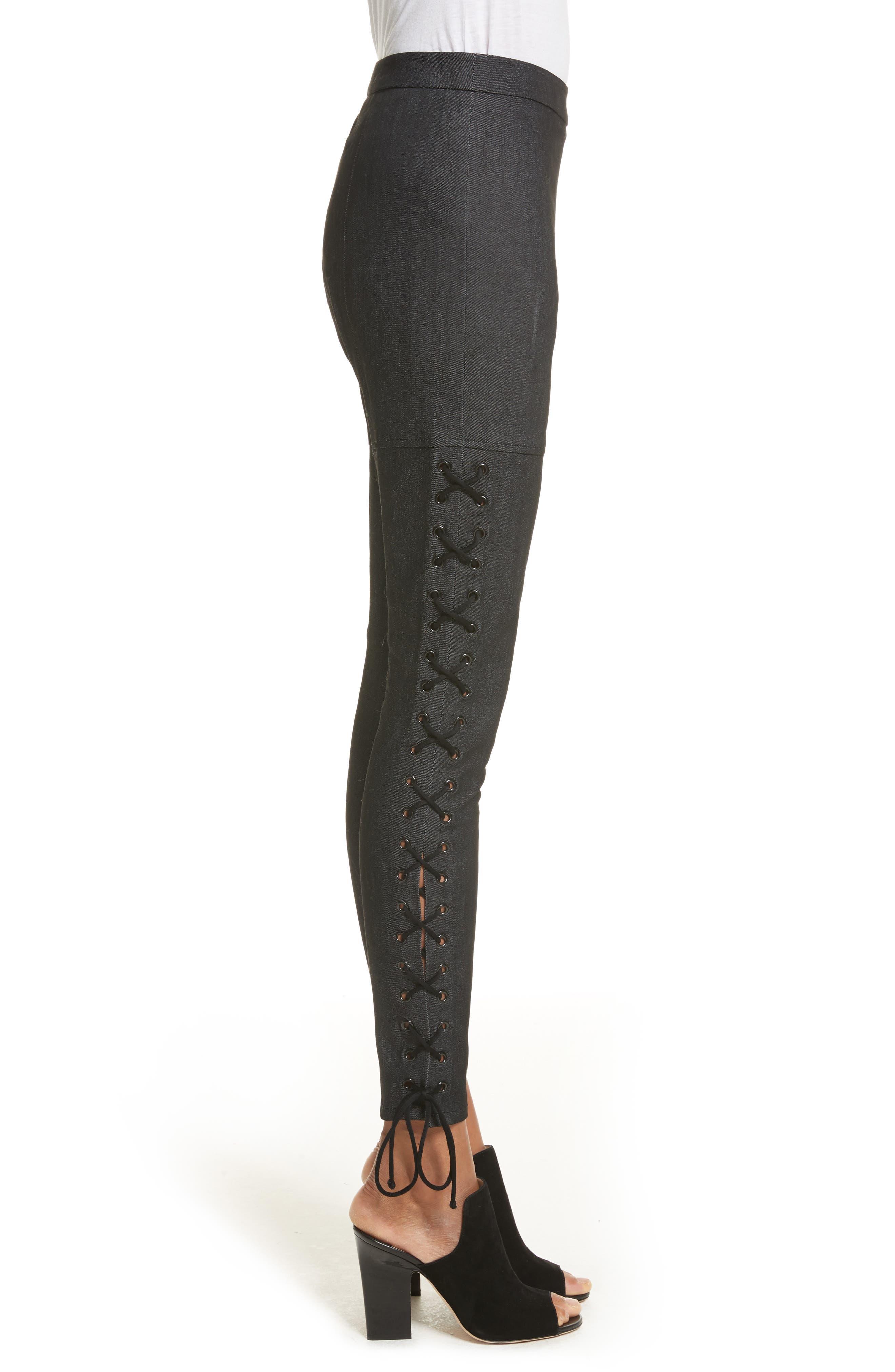 Alternate Image 3  - Cinq à Sept Kiran Lace-Up Stretch Denim Pants