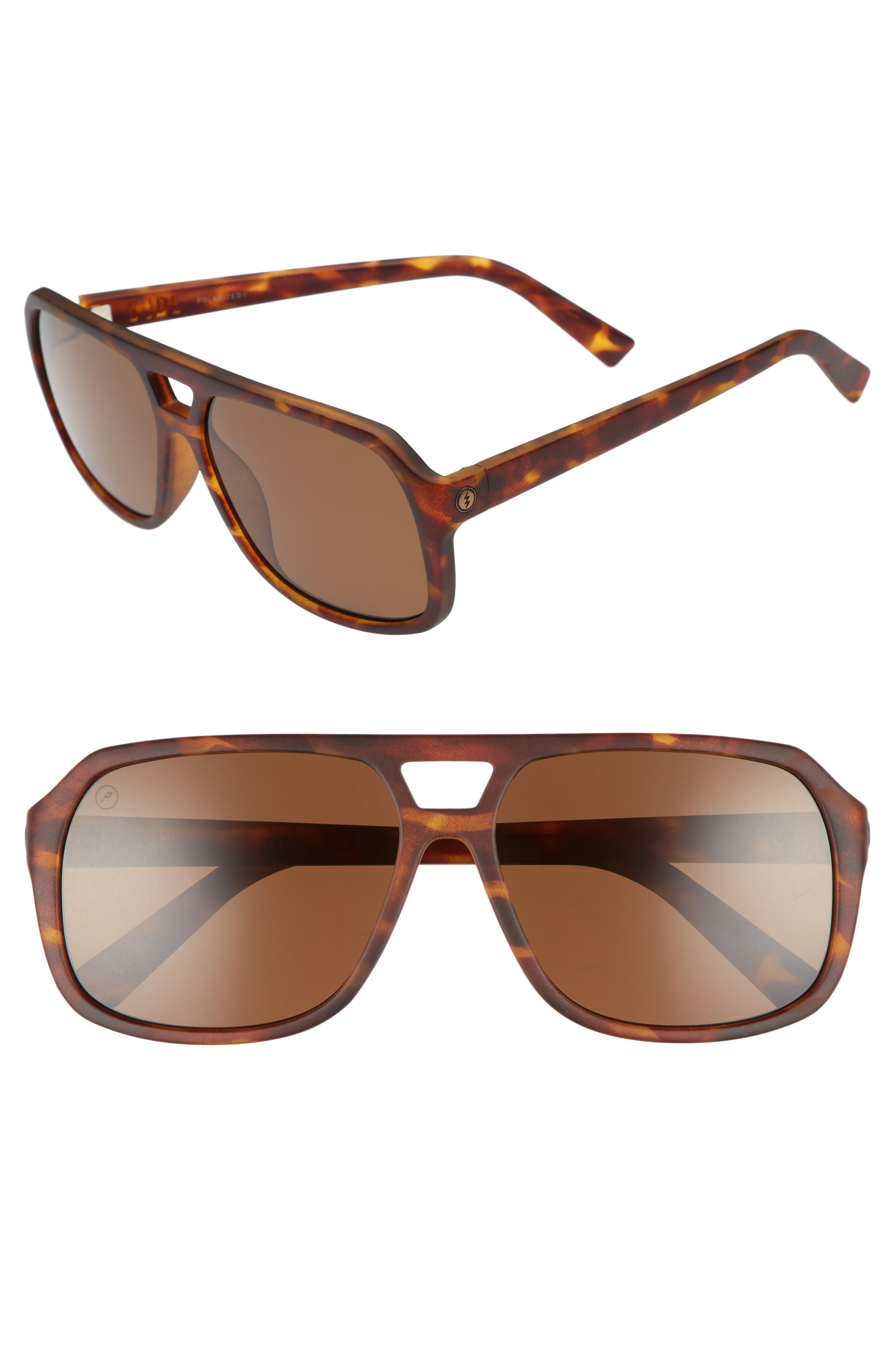 Dude 59mm Polarized Sunglasses,                             Main thumbnail 1, color,                             Tortoise/ Bronze Polarized