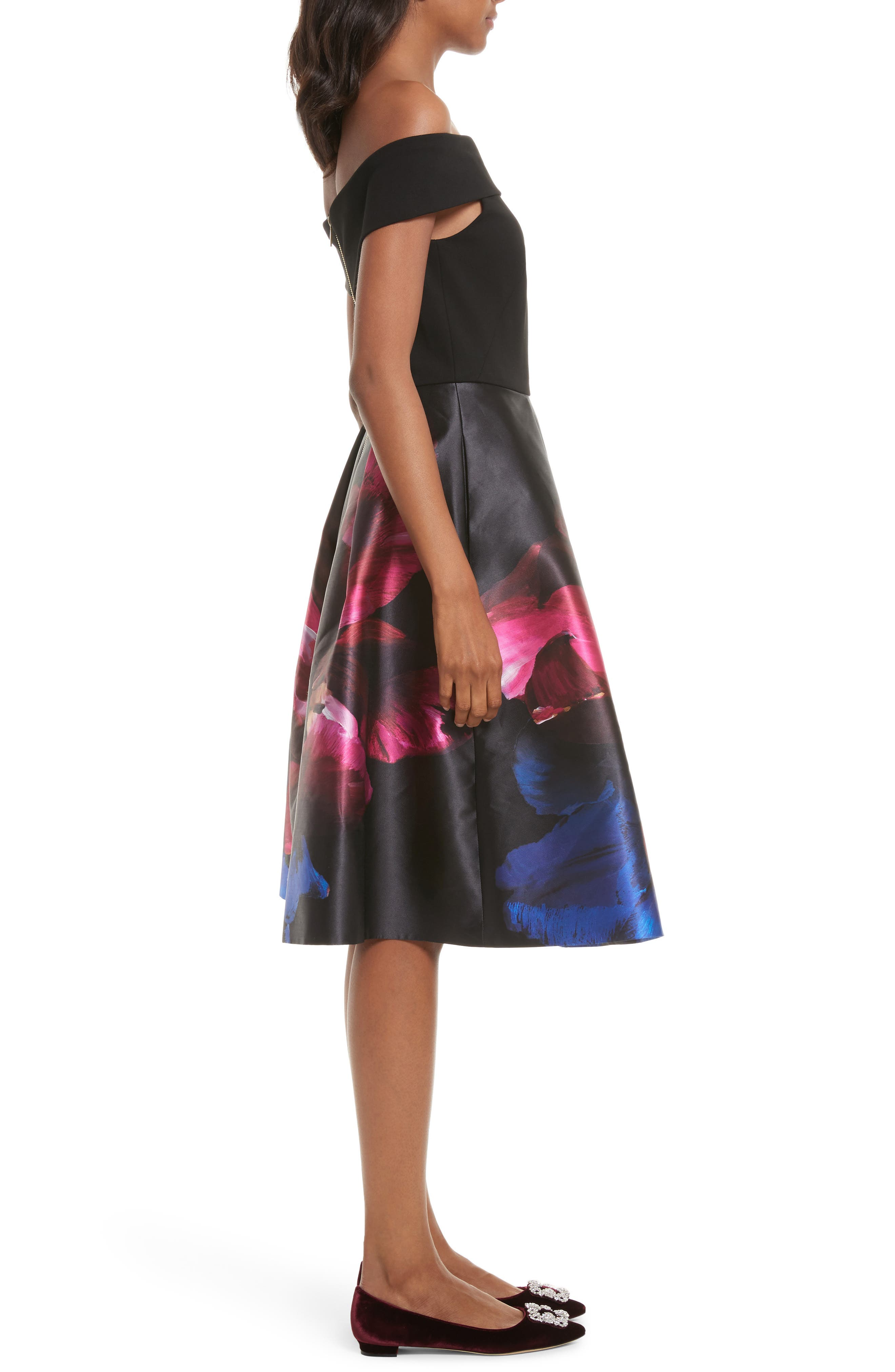 Kimey Impressionist Fit & Flare Dress,                             Alternate thumbnail 3, color,                             Black