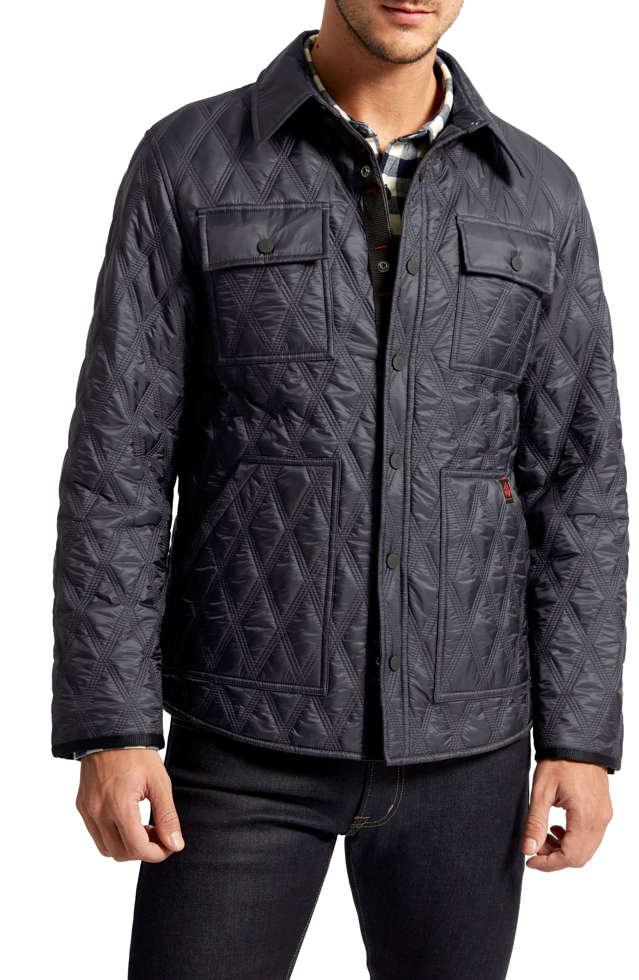Searcy Heat System Triple Stitch Quilted Jacket,                             Main thumbnail 1, color,                             Midnight