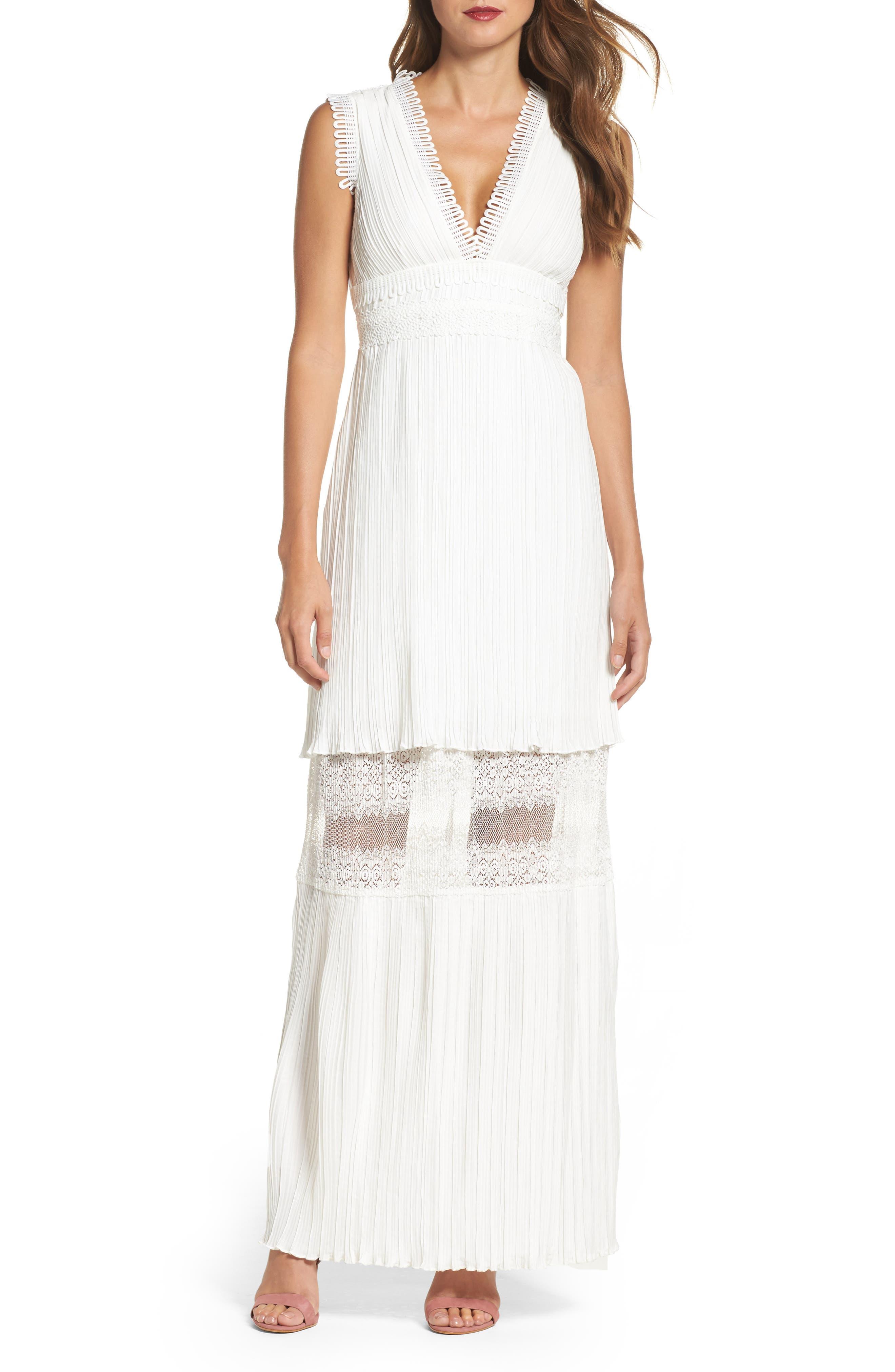 Jasmine Lace Inset Pleated Dress,                             Main thumbnail 1, color,                             Ivory