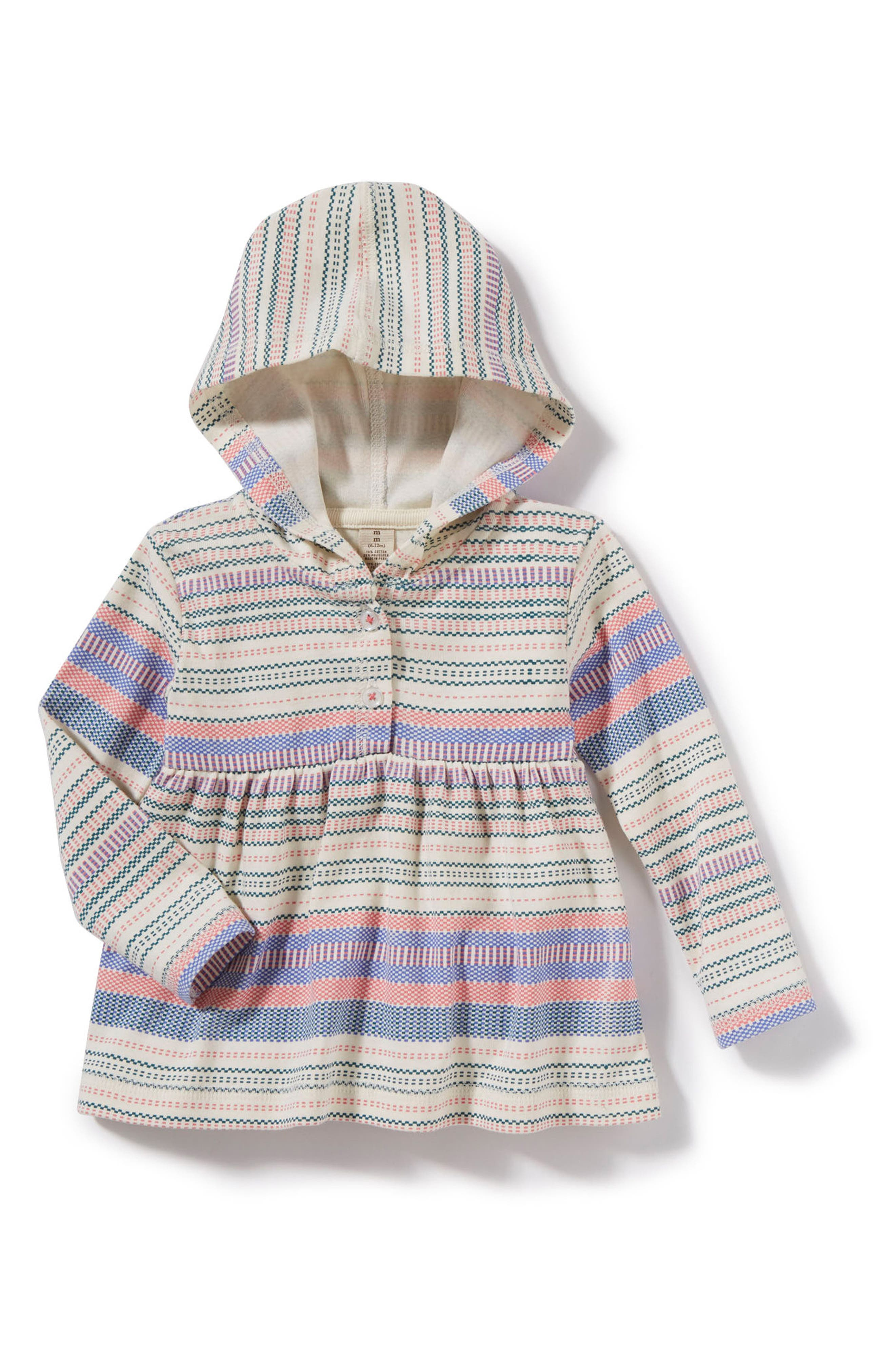 Alternate Image 1 Selected - Peek Grace Stripe Hooded Tunic (Baby Girls)