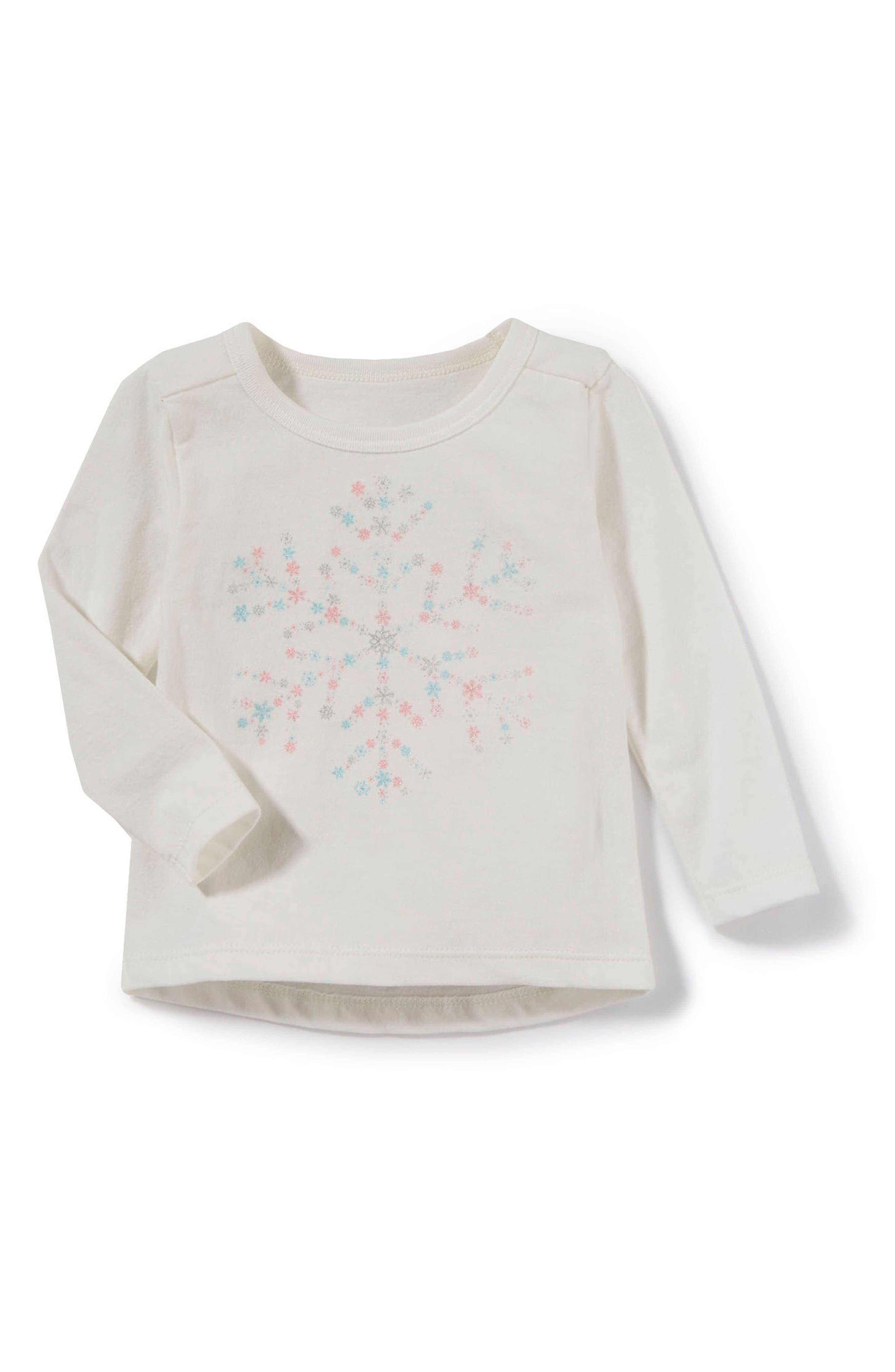 Main Image - Peek Snow Flake Graphic Tee (Baby Girls)