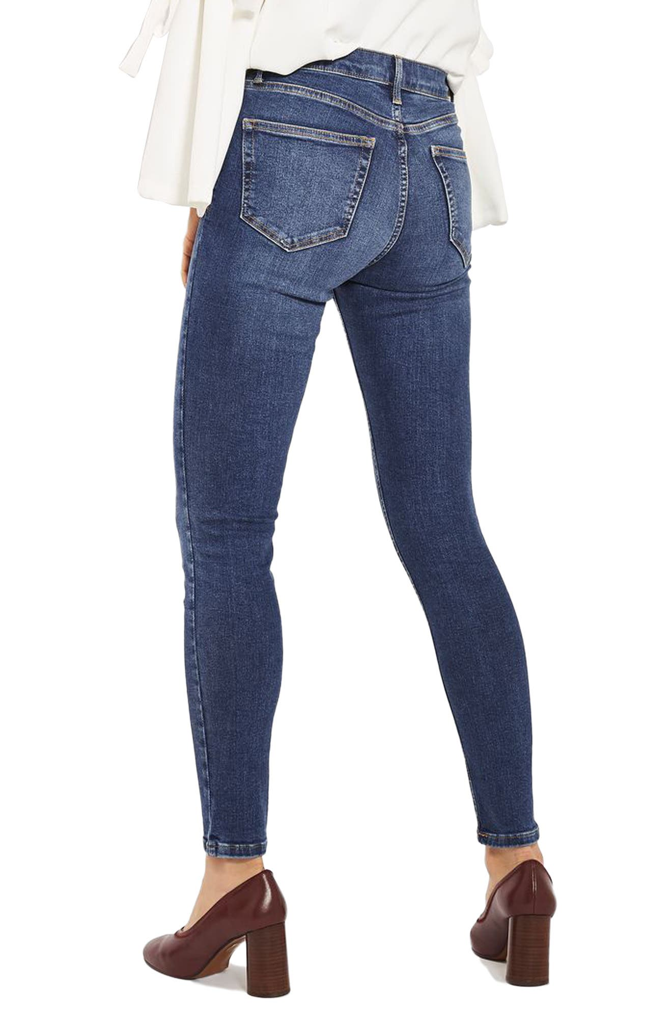 Jamie Indigo High Waist Skinny Jeans,                             Alternate thumbnail 3, color,                             Indigo