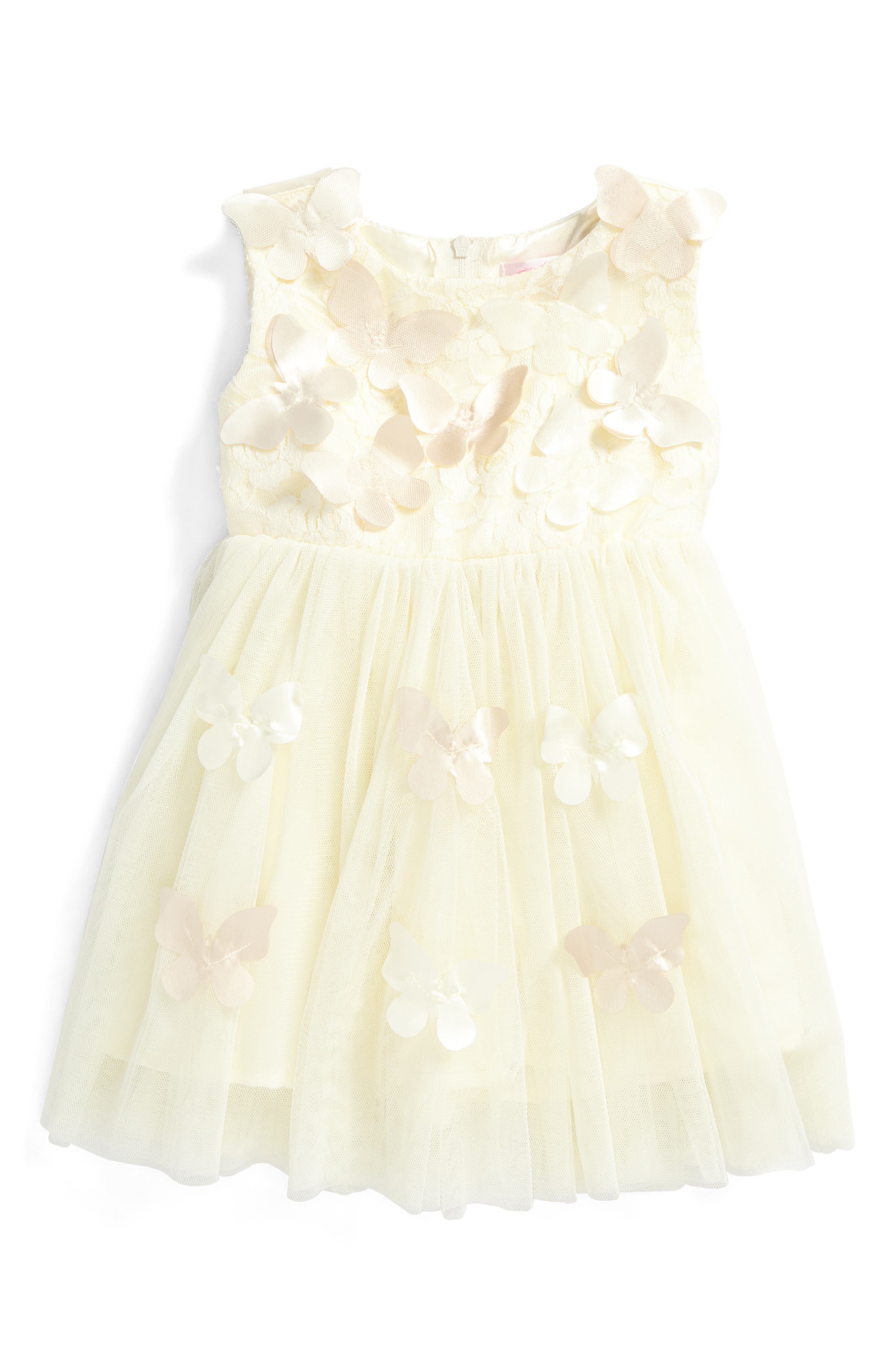 Butterfly Tulle Dress,                         Main,                         color, Gold
