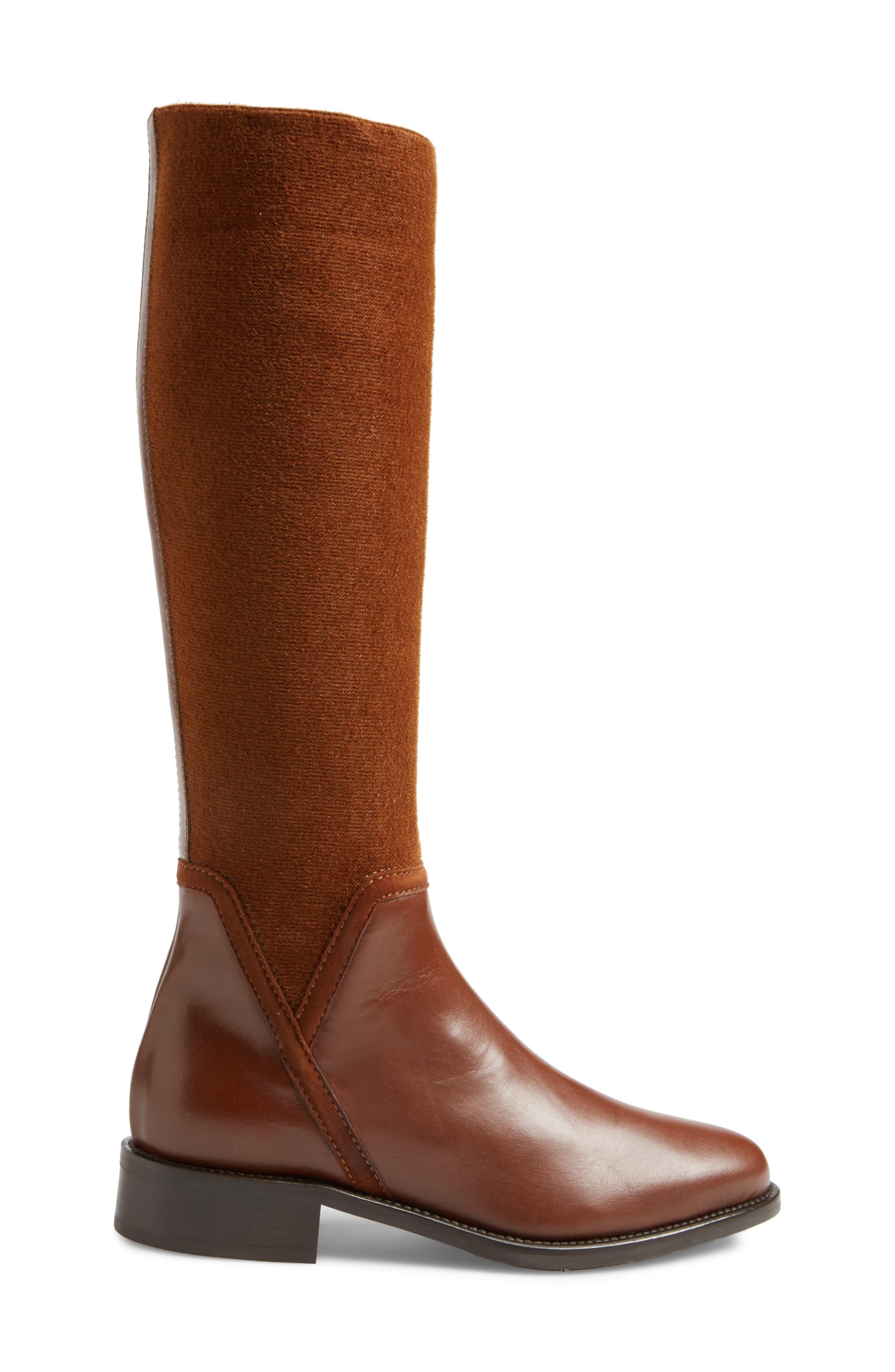 Nicolette Weatherproof Knee High Boot,                             Alternate thumbnail 3, color,                             Castagno Calf/ Elastic