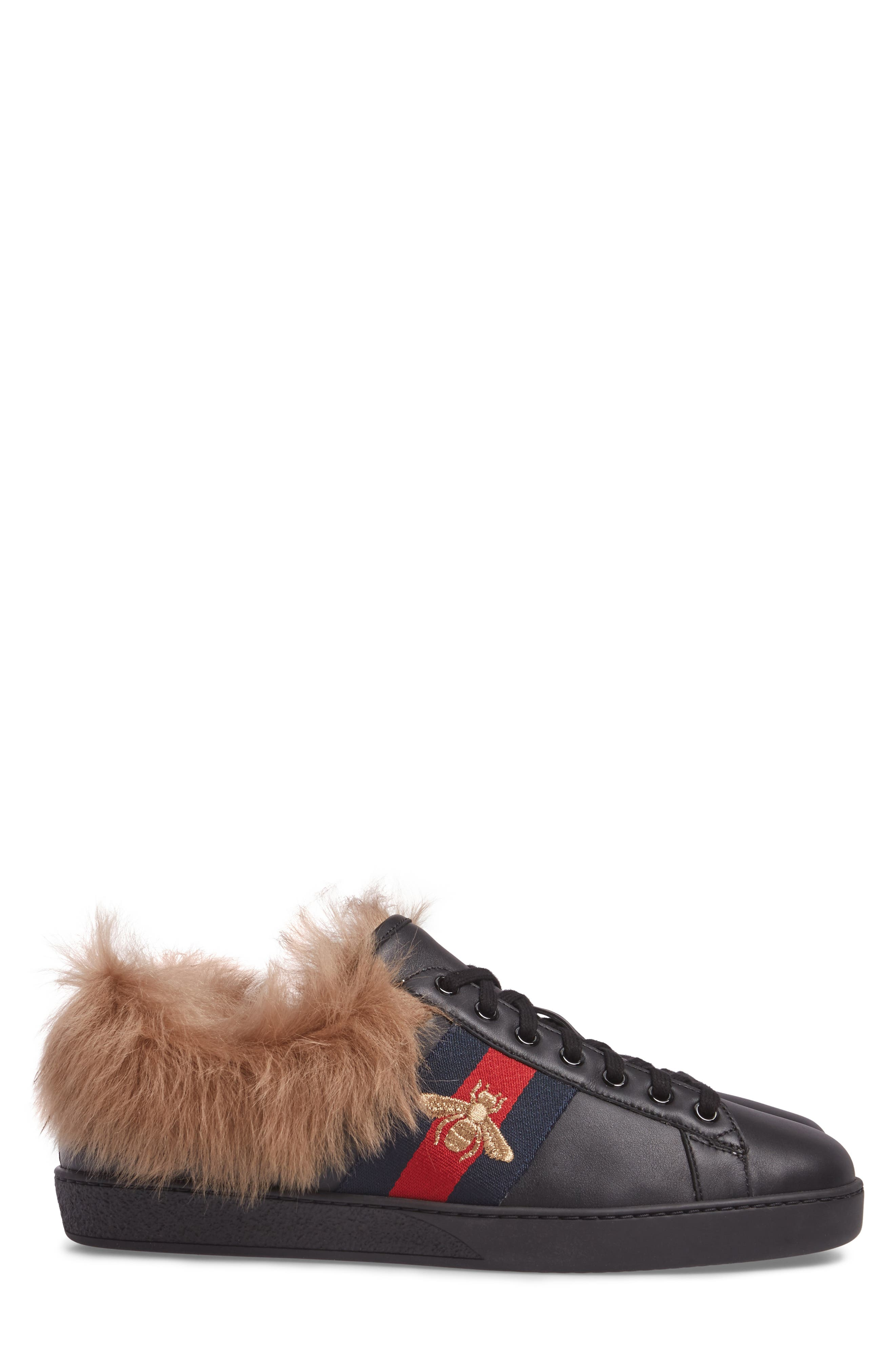 Alternate Image 3  - Gucci New Ace Genuine Shearling Bee Sneaker (Men)