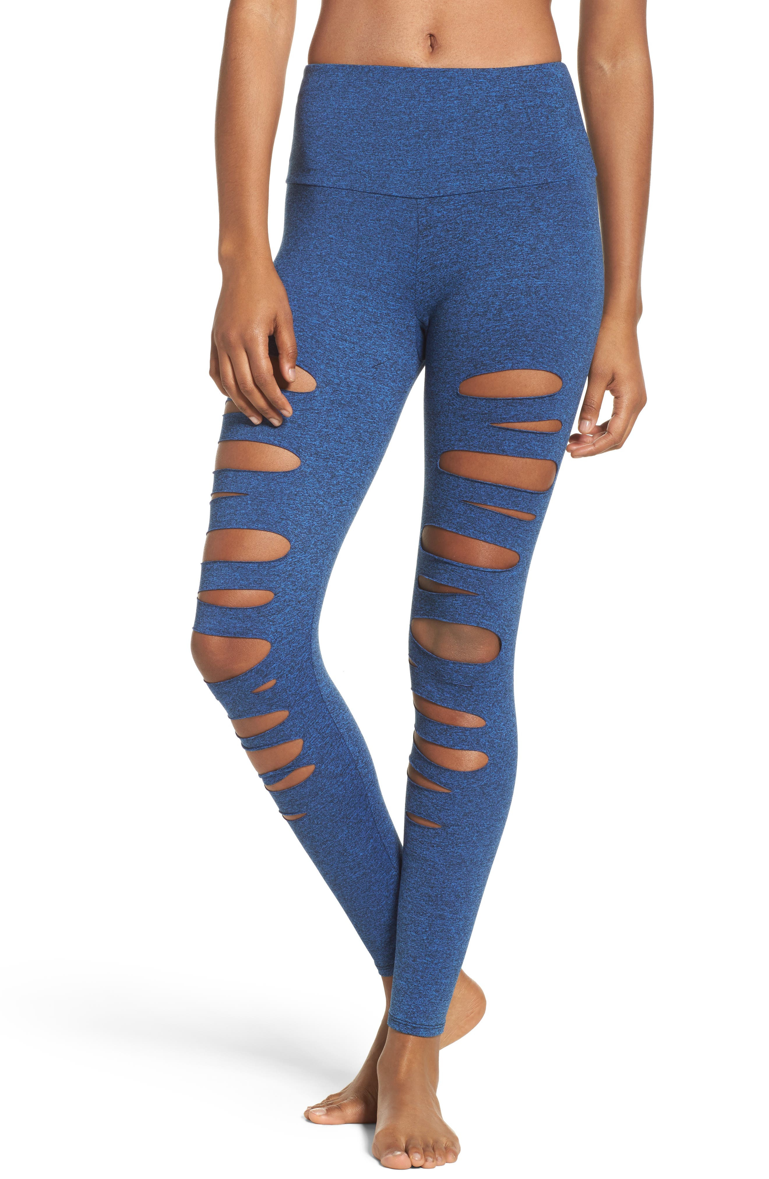 Yoga Apparel High Waist Openwork Leggings,                         Main,                         color, Moonlight Blue Majestic