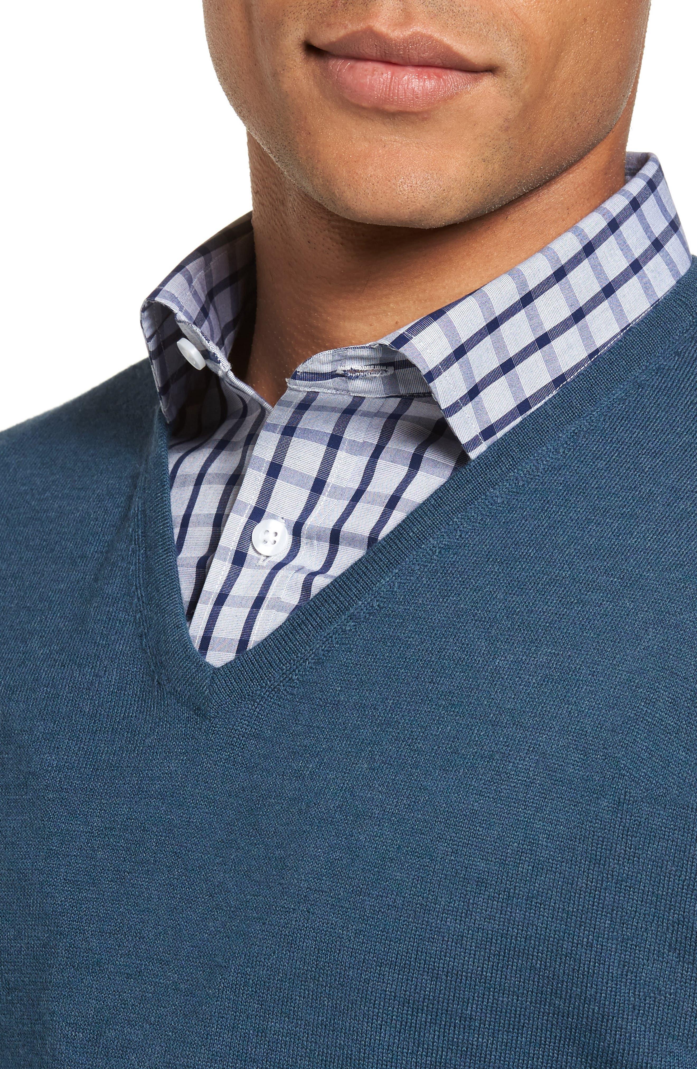 Alternate Image 4  - Nordstrom Men's Shop V-Neck Merino Wool Sweater (Regular & Tall)