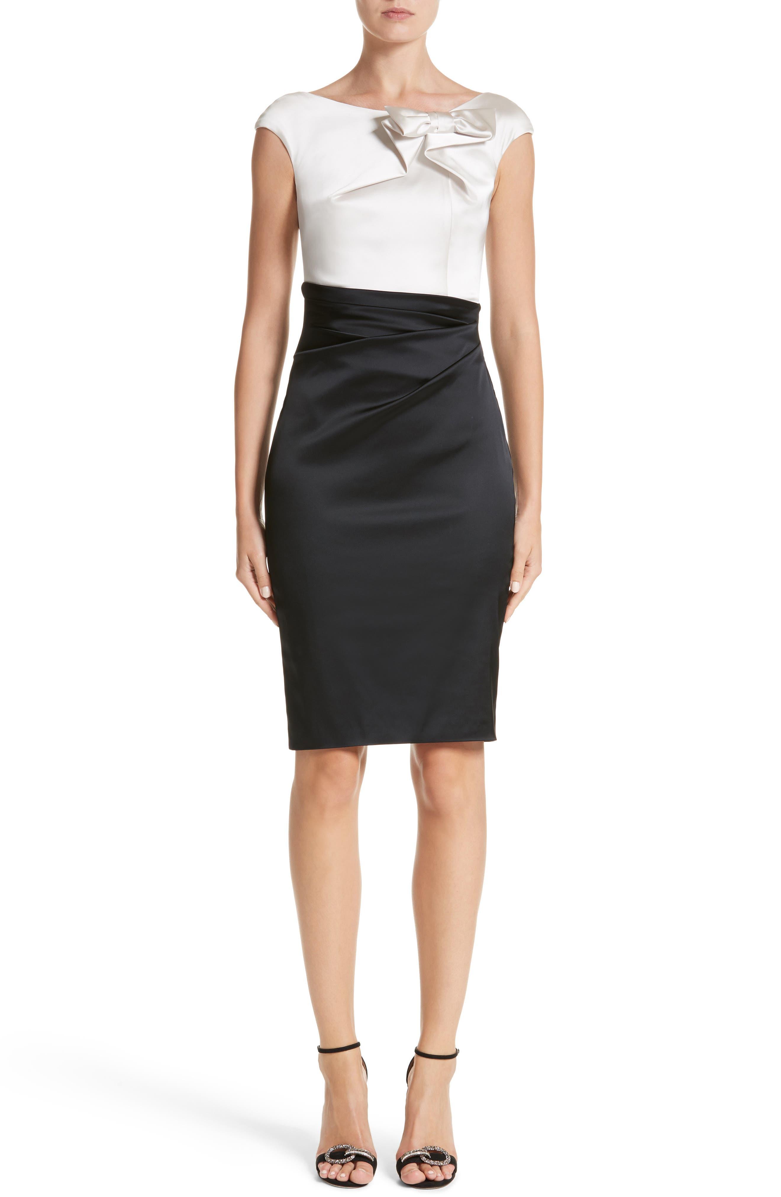 Colorblock Satin Duchesse Sheath Dress,                         Main,                         color, Allabaster/Black
