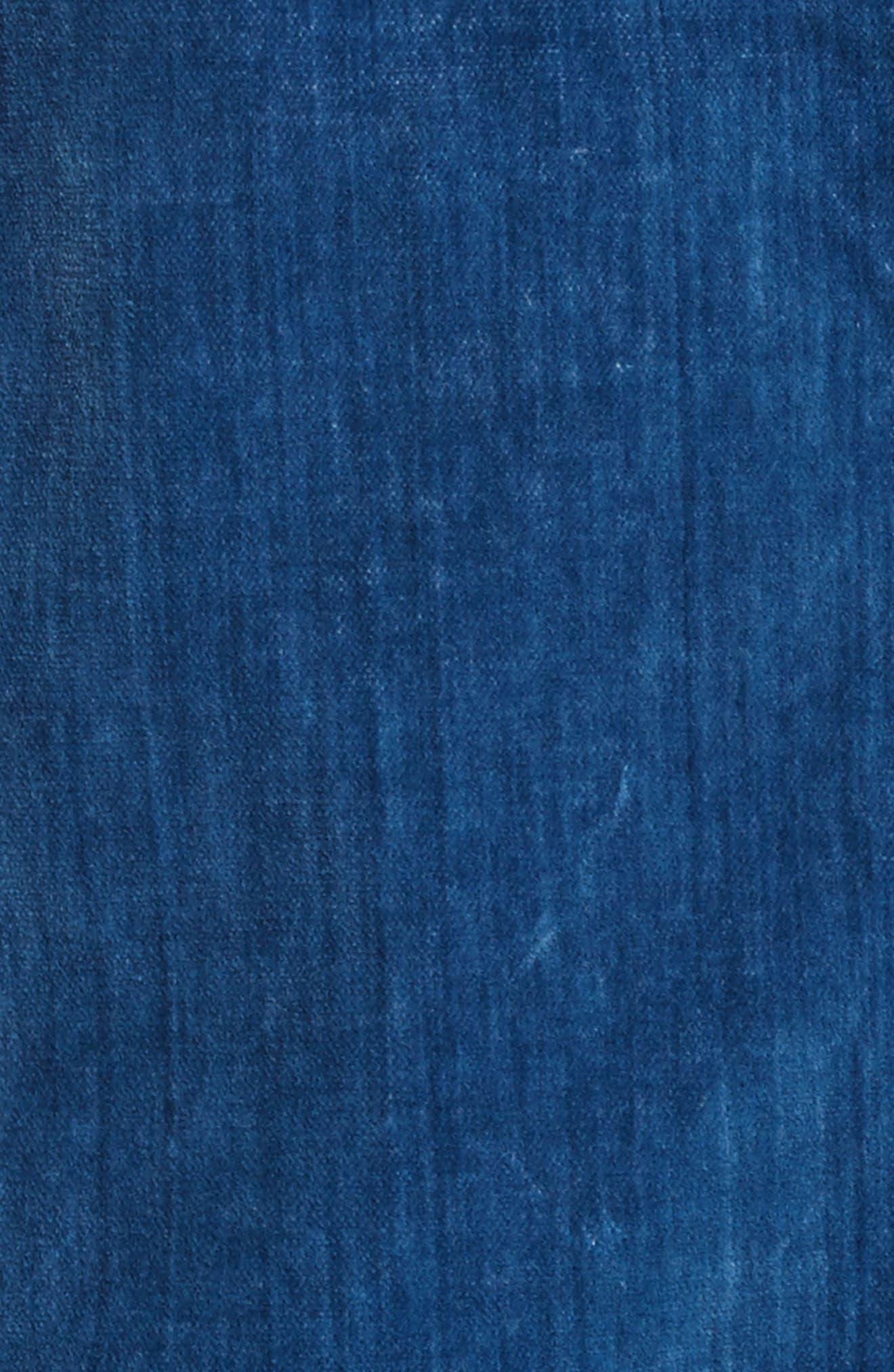 Velvet Denim Jacket,                             Alternate thumbnail 5, color,                             Dark Blueprint Patch Wash