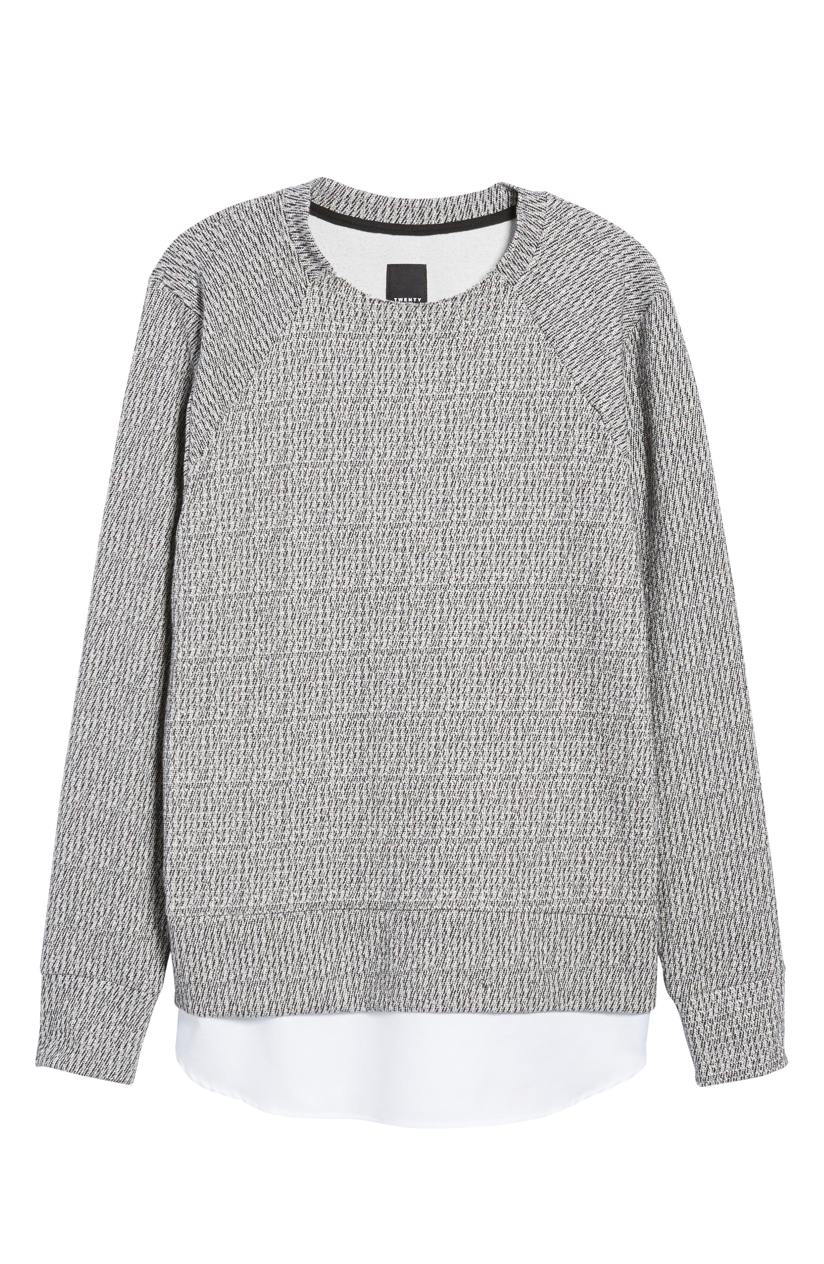 Double Layer Crewneck Sweater,                             Alternate thumbnail 6, color,                             Scour