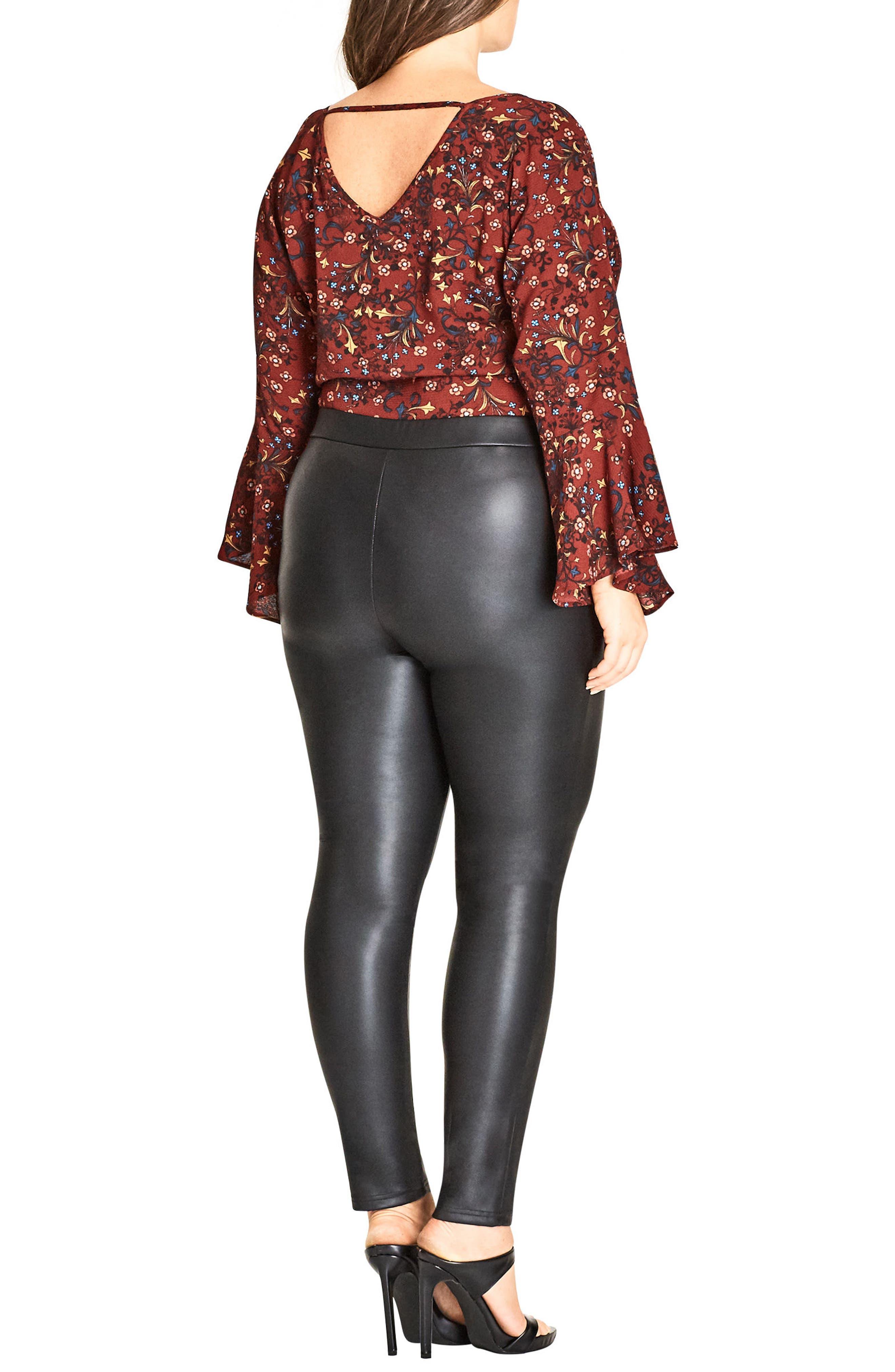 Alternate Image 2  - City Chic Asha Wet Look Leggings (Plus Size)
