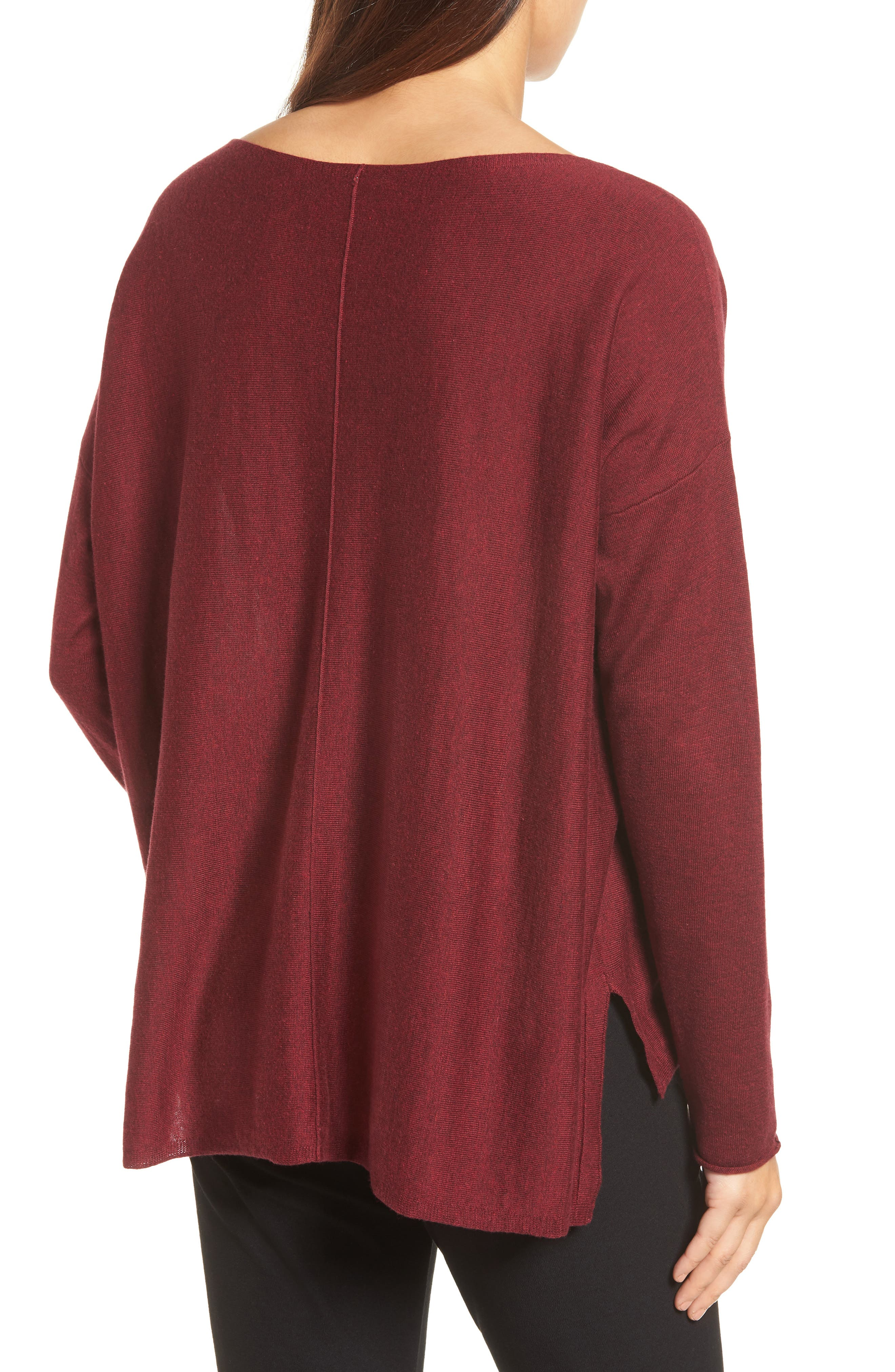 Tencel<sup>®</sup> Lyocell Blend High/Low Sweater,                             Alternate thumbnail 2, color,                             Claret