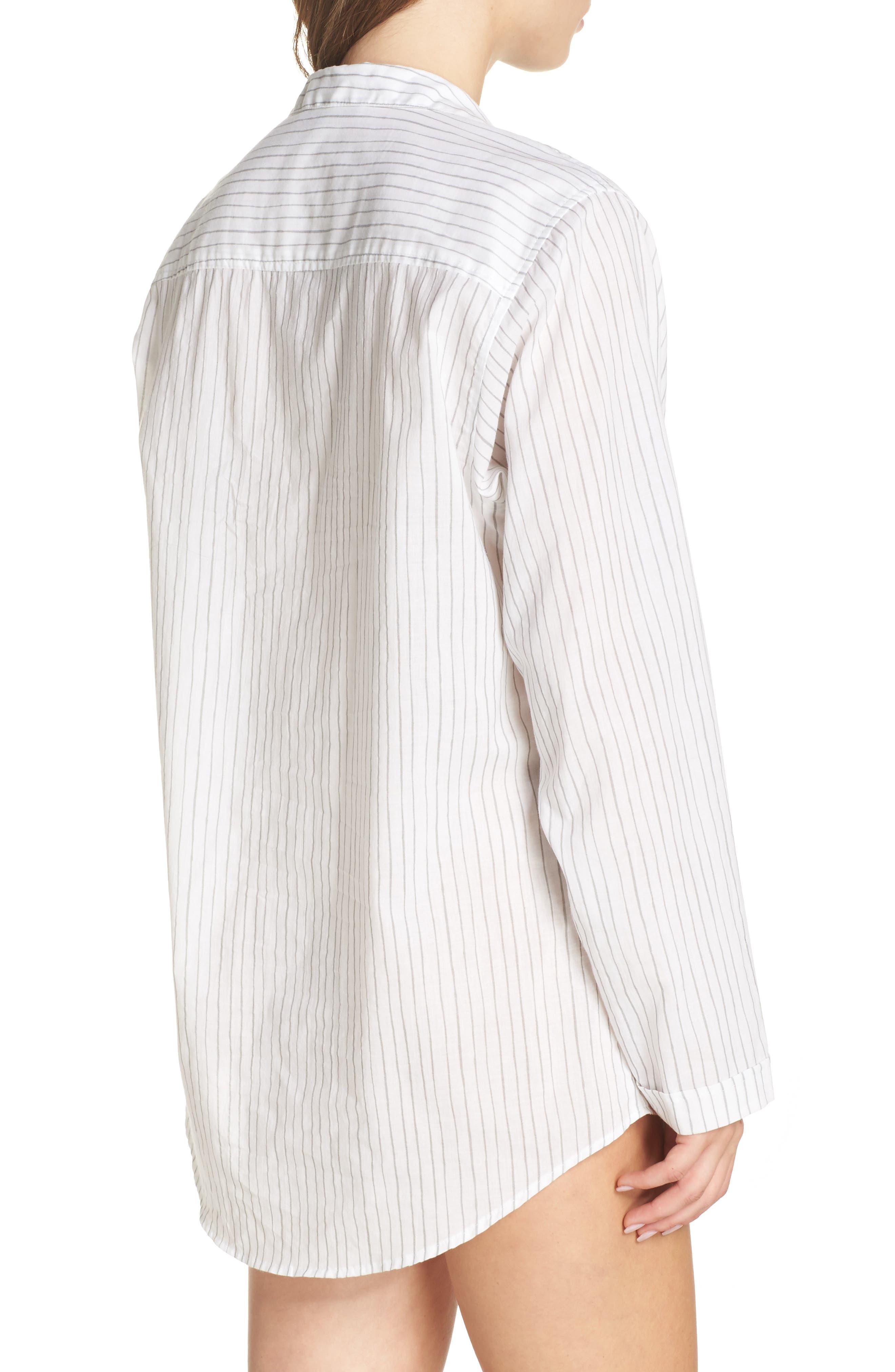 Alternate Image 3  - Pour Les Femmes Pinstripe Boyfriend Sleep Shirt