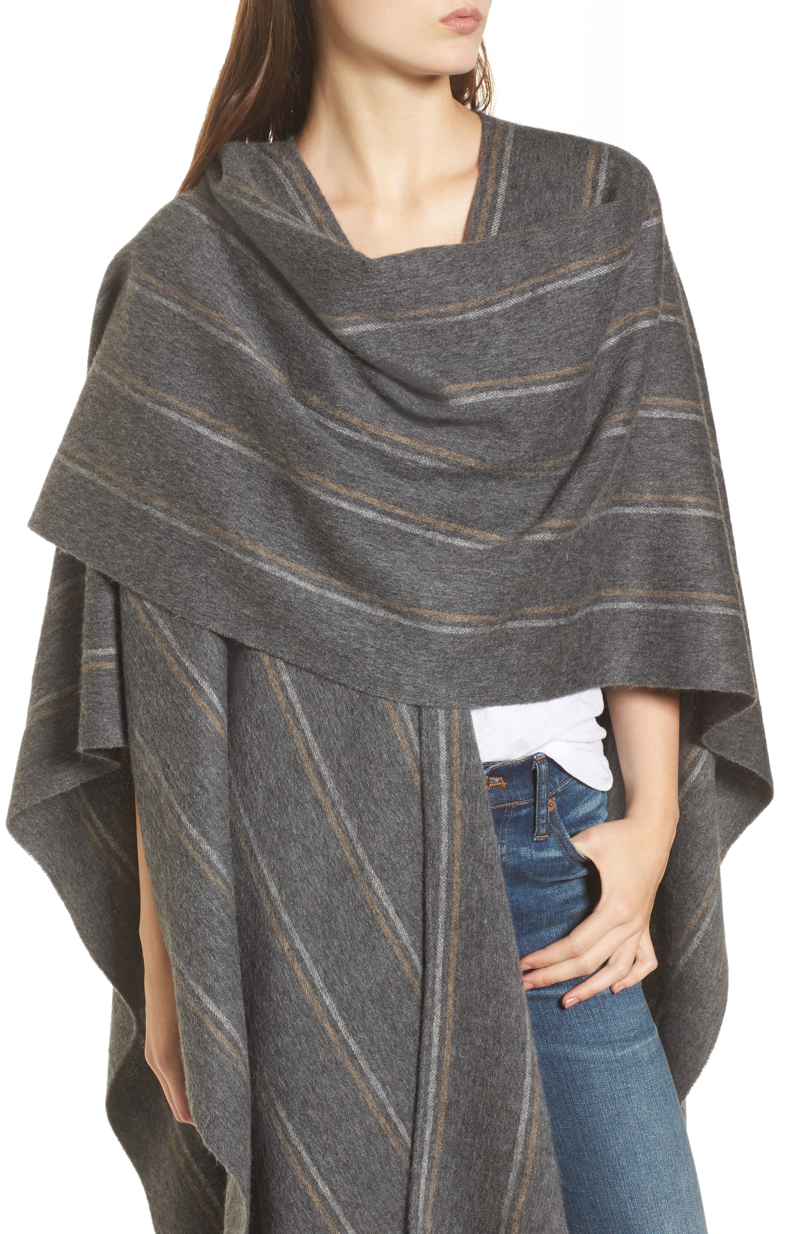 Stripe Poncho Scarf,                             Alternate thumbnail 4, color,                             Heather Charcoal