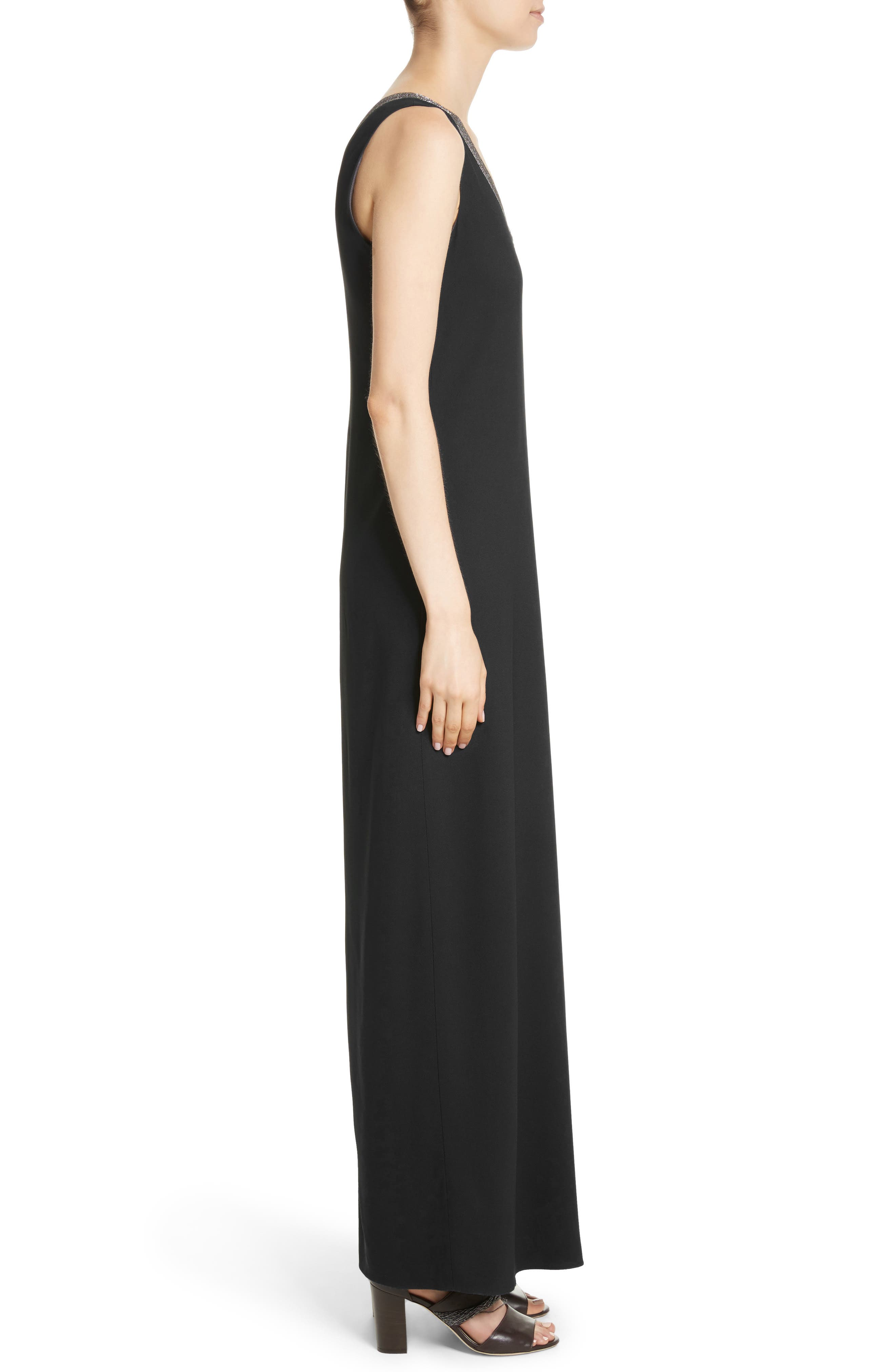 Beaded Maxi Dress,                             Alternate thumbnail 3, color,                             Black