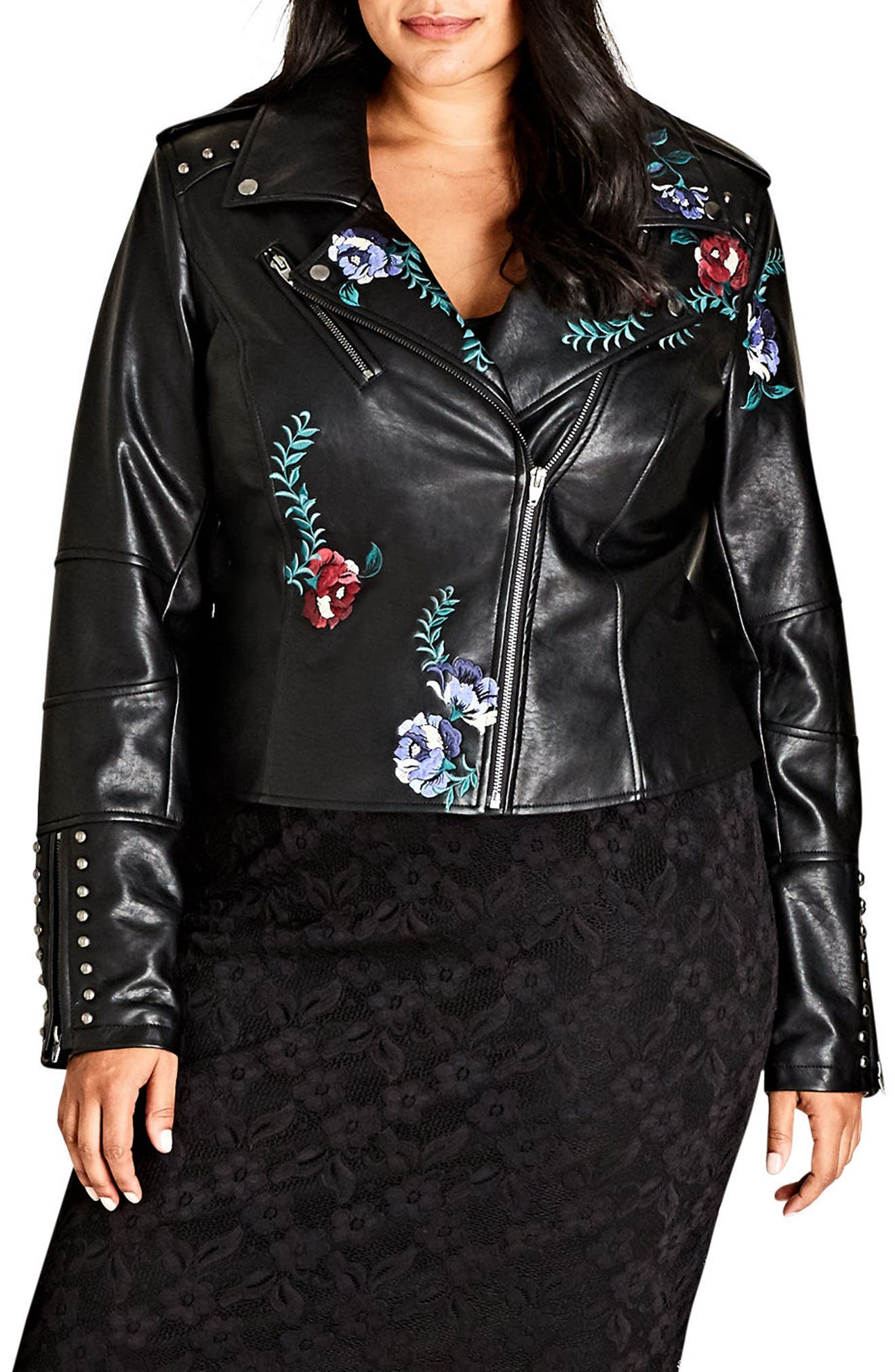 City Chic Embroidered Rose Faux Leather Biker Jacket (Plus Size)